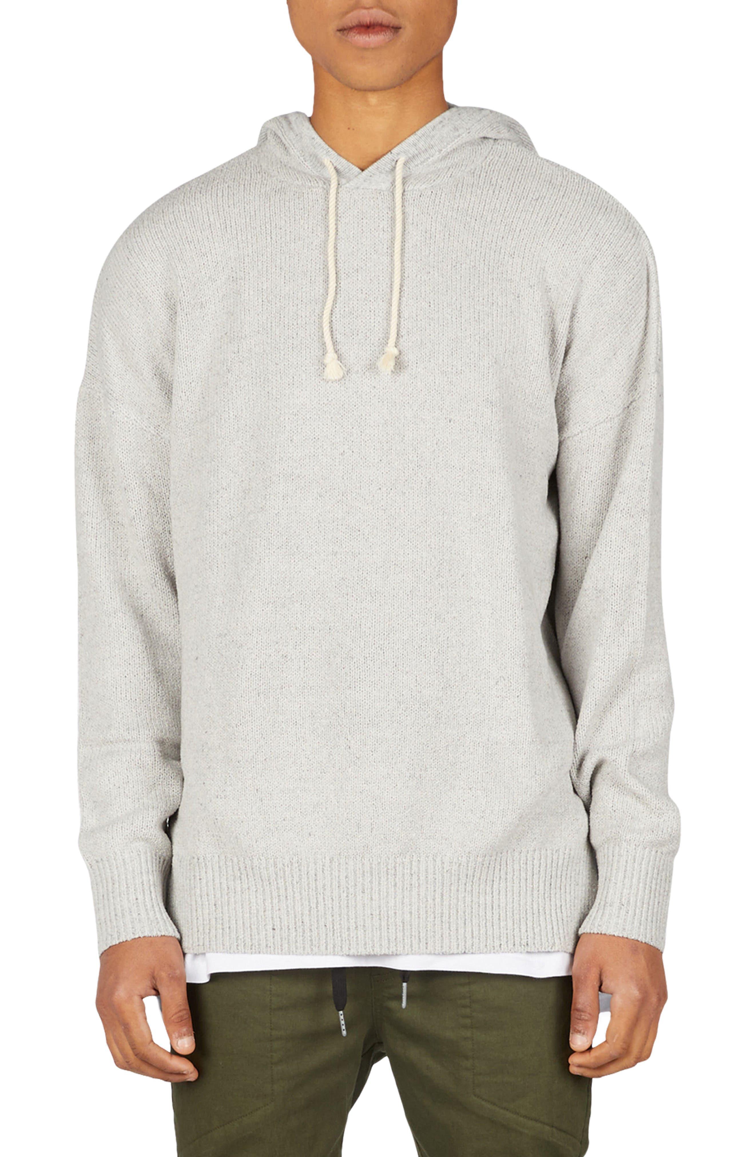 Towel Knit Hooded Sweatshirt,                             Main thumbnail 1, color,                             Grey
