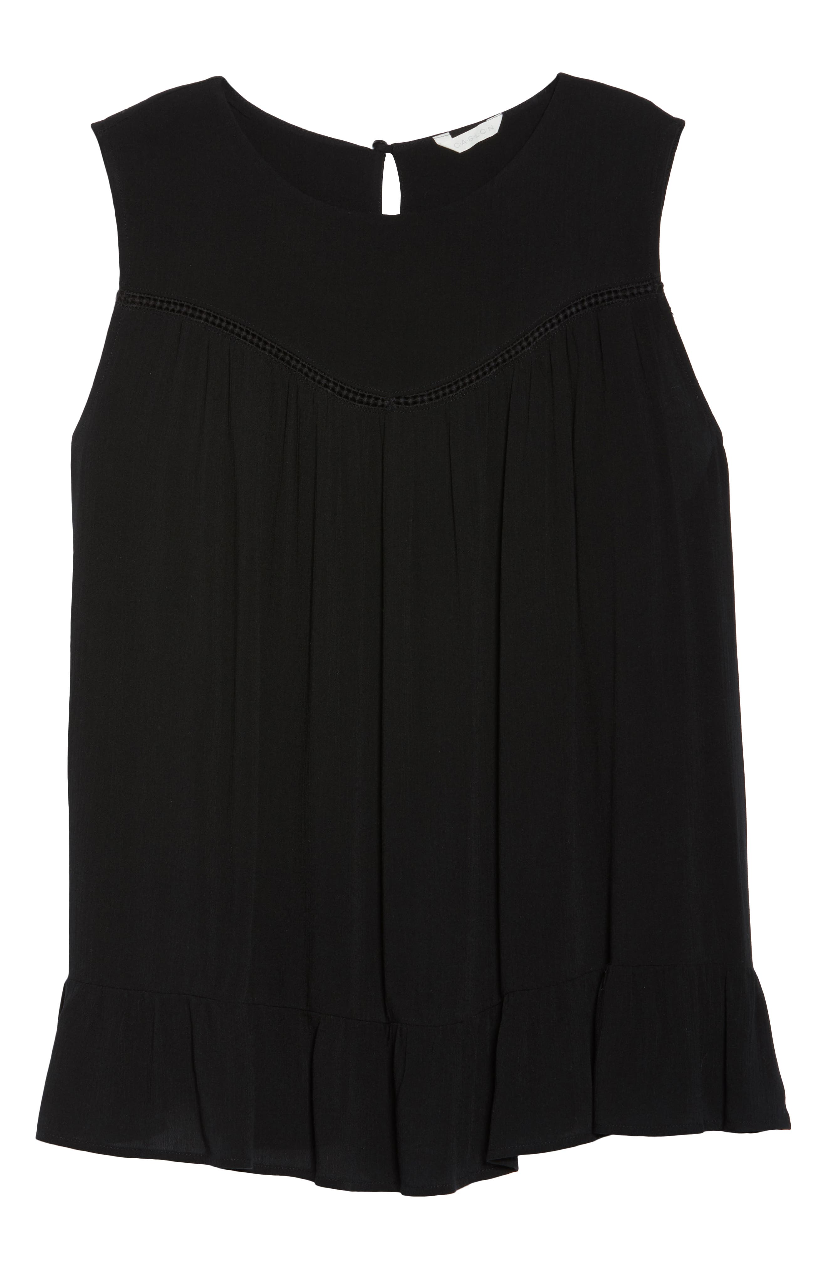 Ruffle Hem Gauze Tank,                             Alternate thumbnail 7, color,                             Black