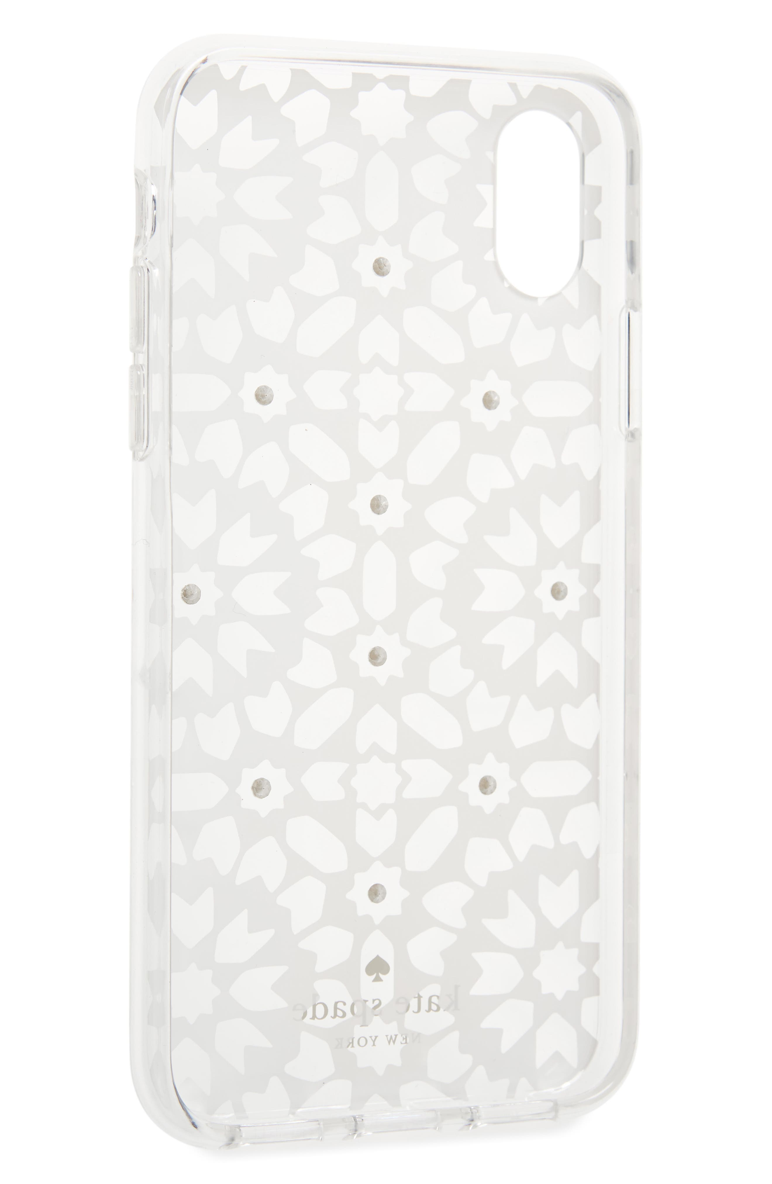 jewel floral mosaic iPhone X case,                             Alternate thumbnail 2, color,                             Clear Multi