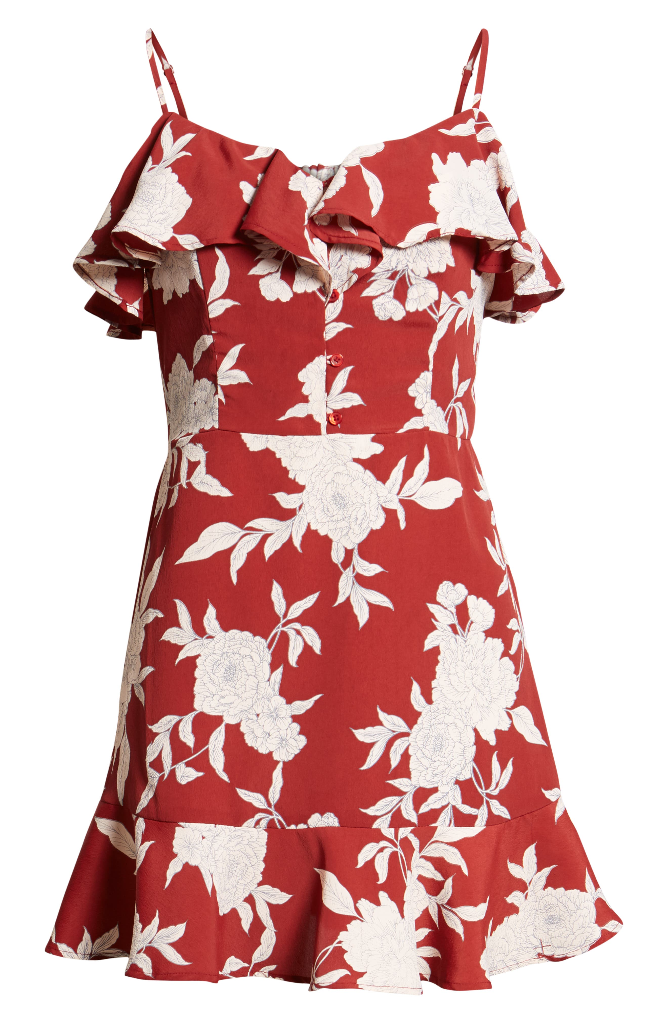Floral Print Ruffle Dress,                             Alternate thumbnail 7, color,                             Red Ground Floral