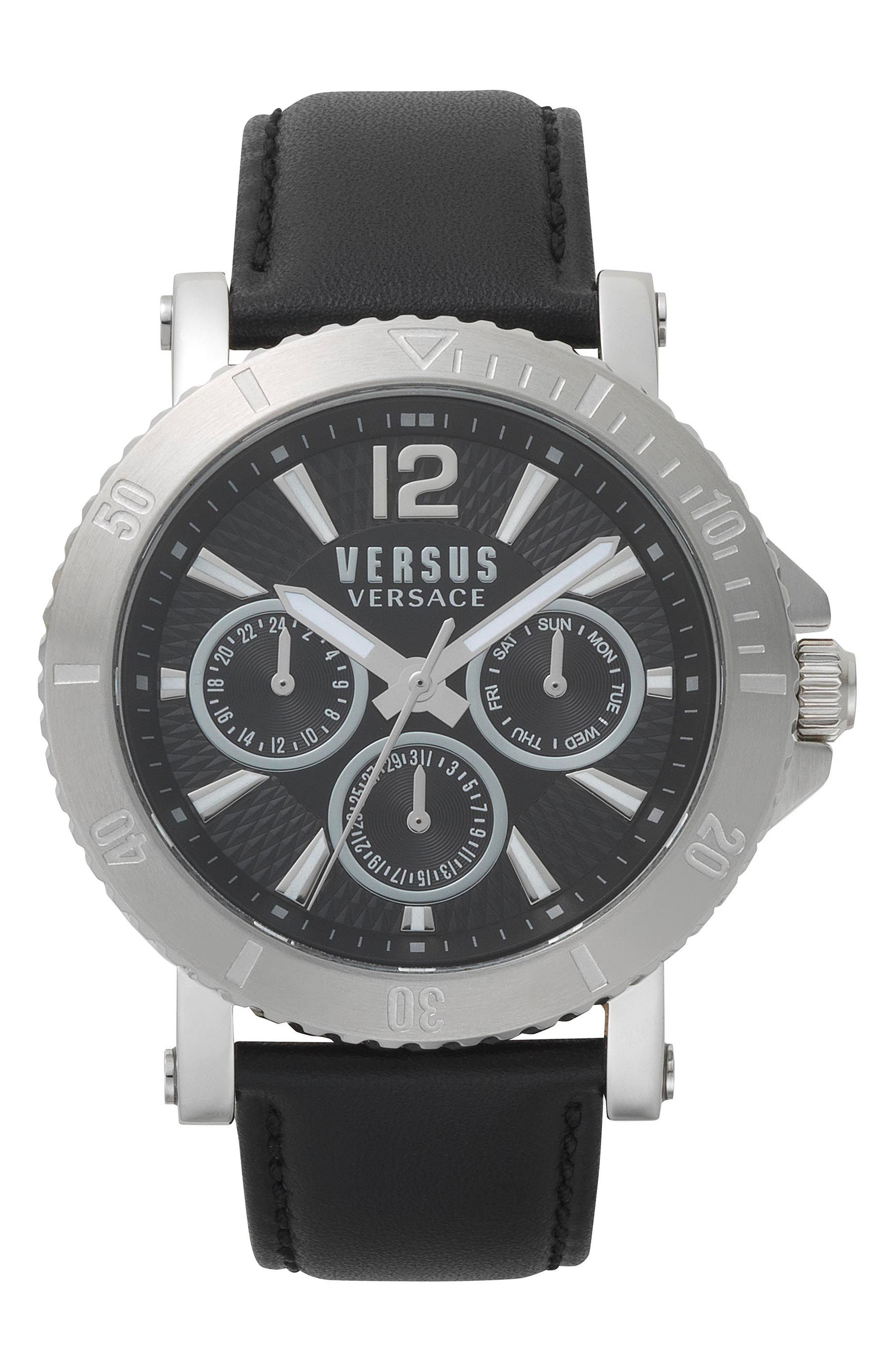 VERSUS by Versace Steenberg Multifunction Leather Strap Watch, 45mm,                         Main,                         color, Black/ Silver