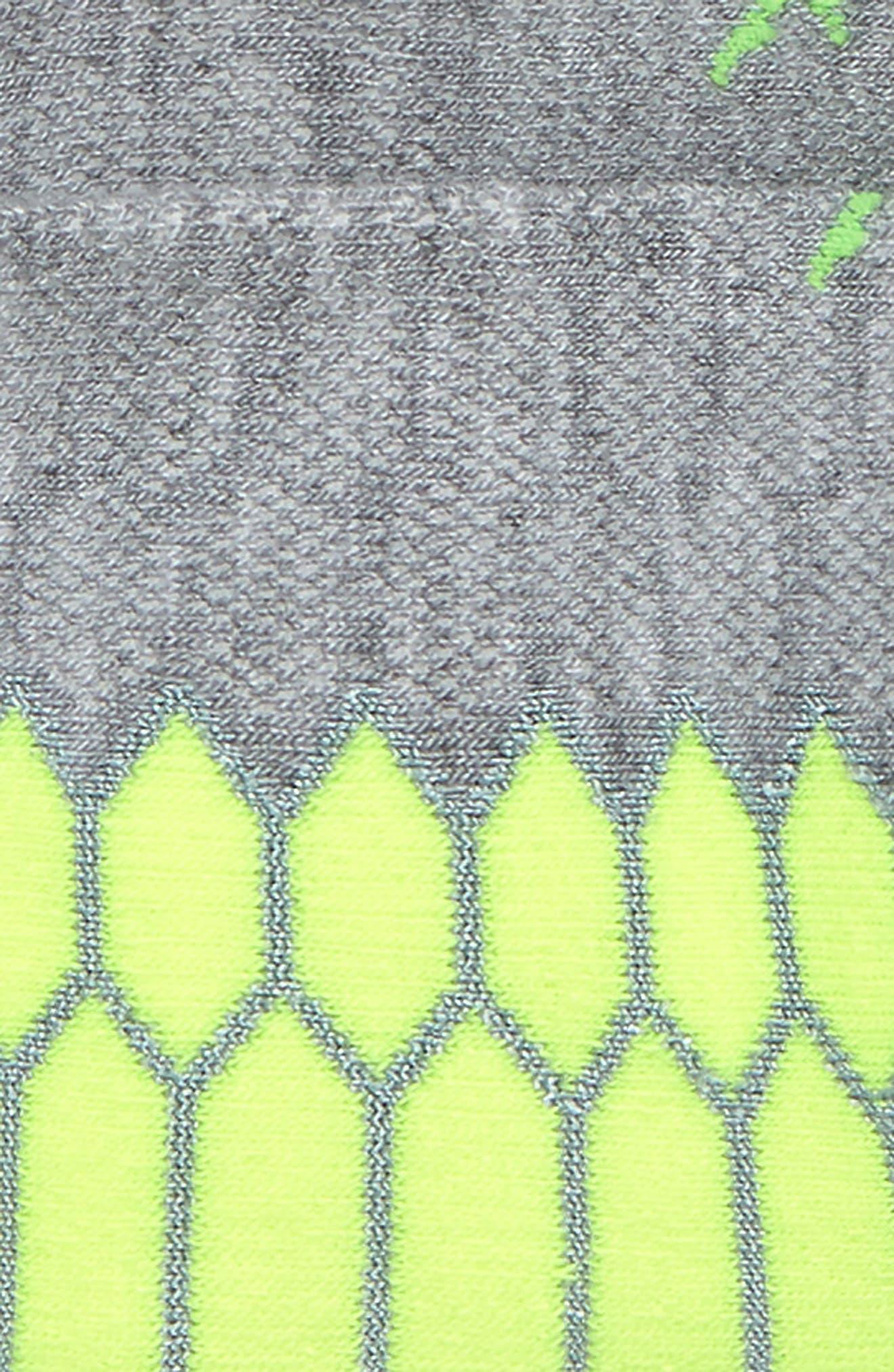 Silver Socks,                             Alternate thumbnail 2, color,                             Mid Grey/ Neon Lime