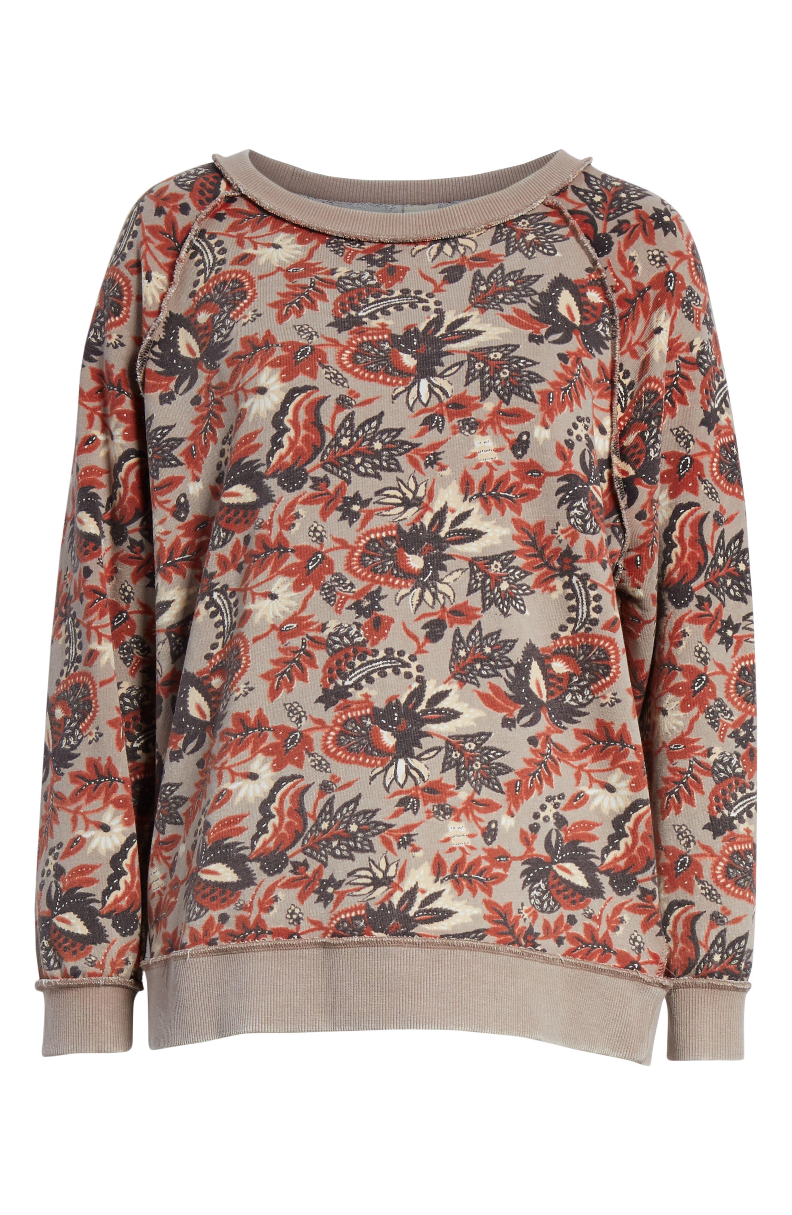 Go on Get Floral Sweatshirt,                             Alternate thumbnail 6, color,                             Brown