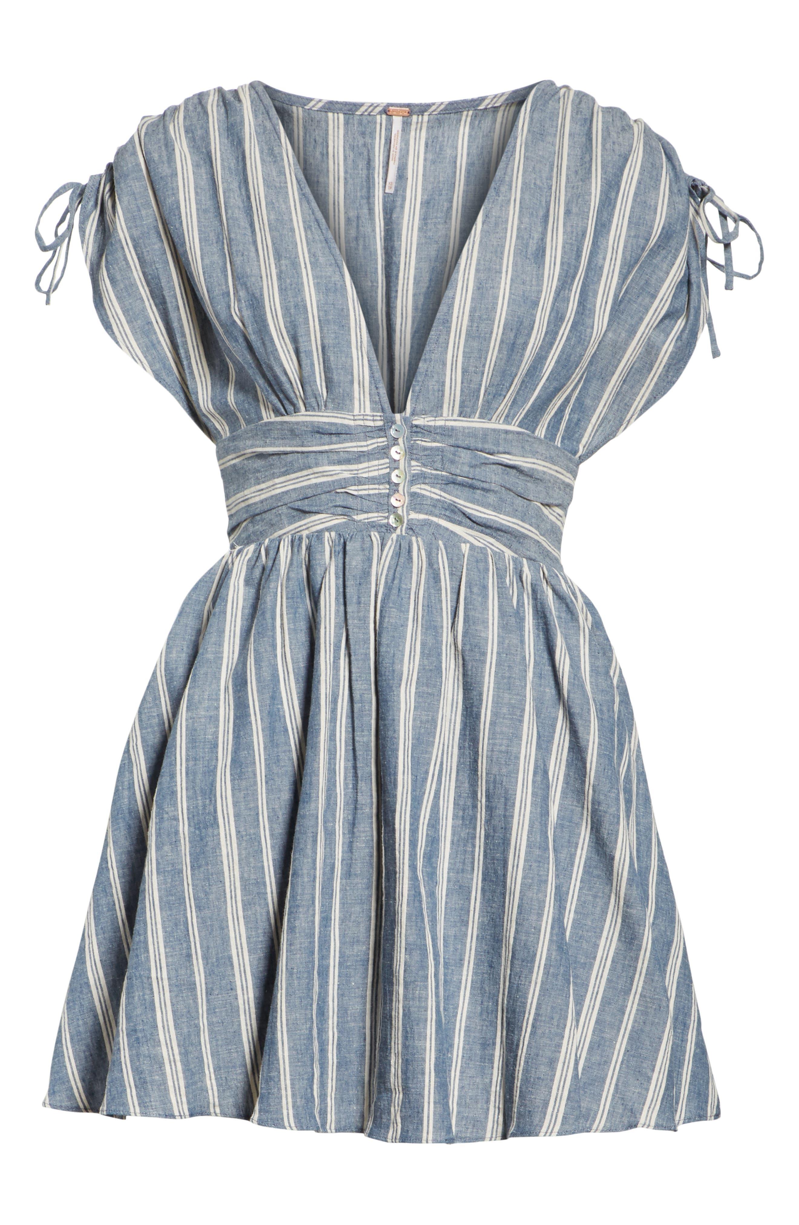 Roll the Dice Stripe Dress,                             Alternate thumbnail 6, color,                             Blue
