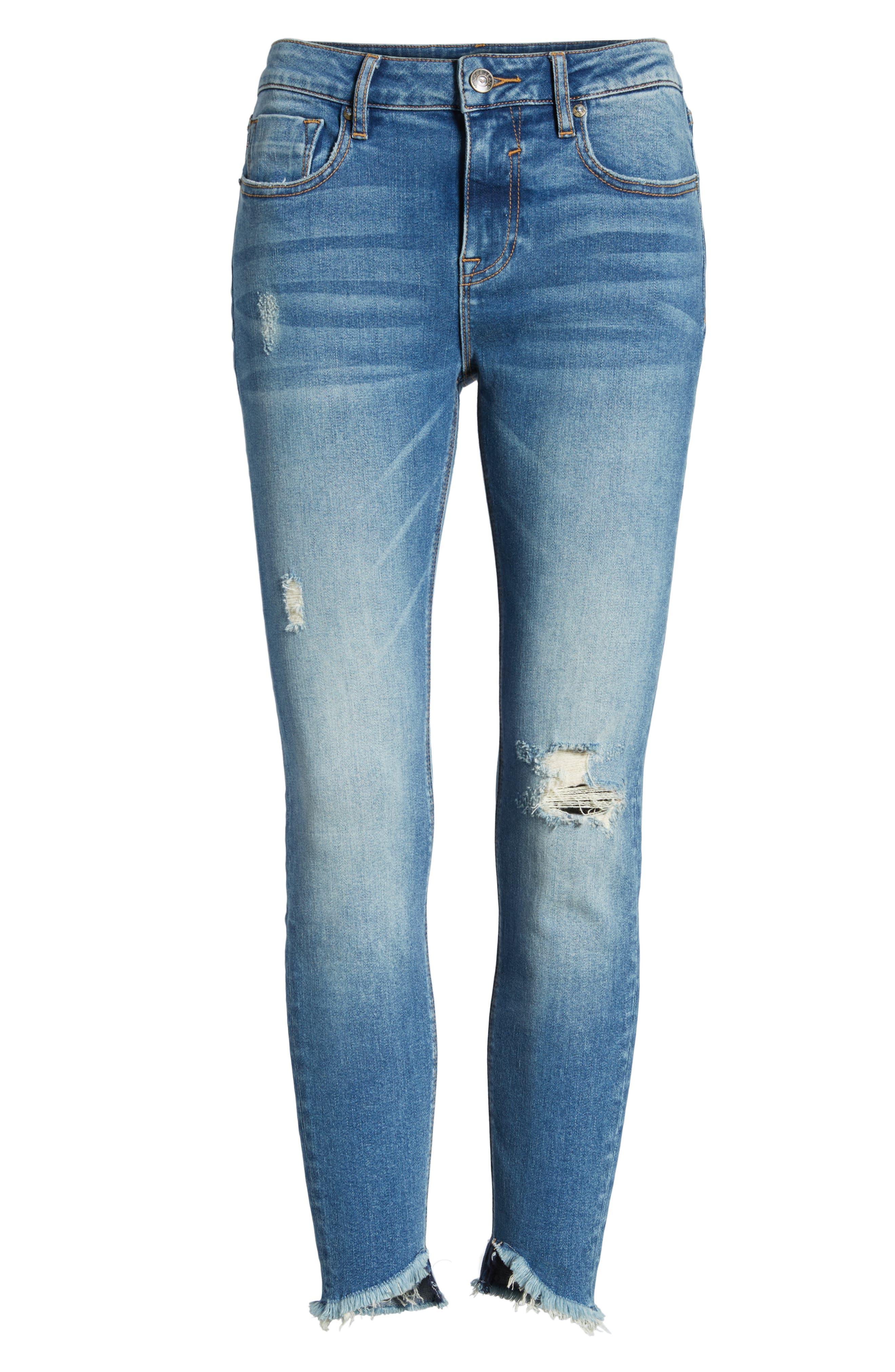 Marley Tulip Hem Ankle Skinny Jeans,                             Alternate thumbnail 7, color,                             Dark Wash