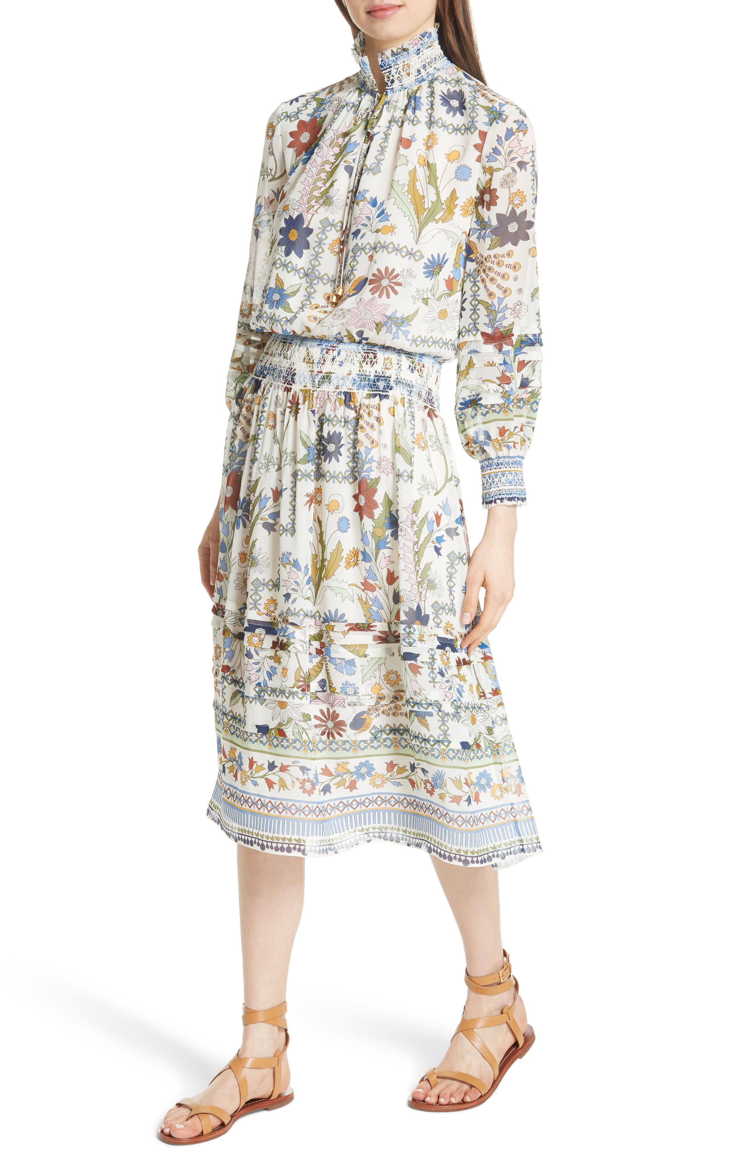 Waverly Floral Print Silk Midi Dress,                             Alternate thumbnail 4, color,                             Ivory Meadow Folly