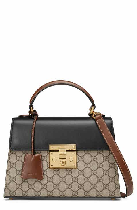 99e97ec53e4 Gucci Small Padlock GG Supreme Canvas   Leather Top Handle Satchel