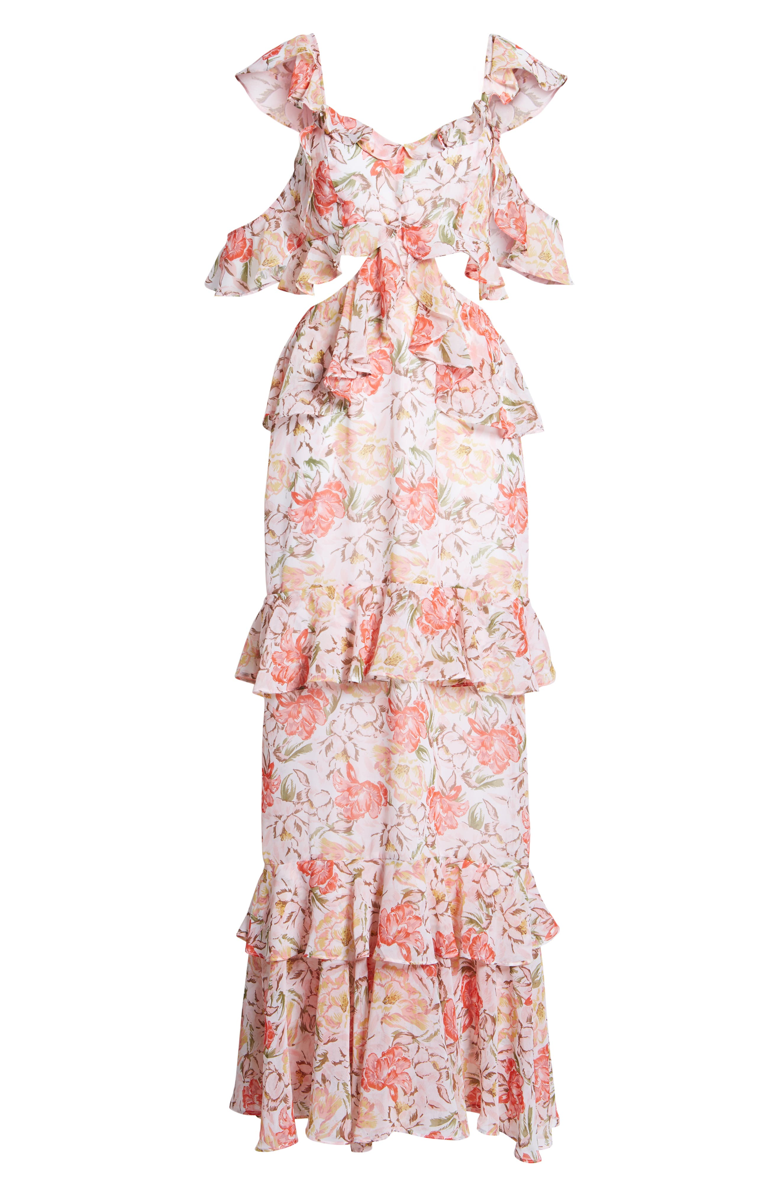Milan Cut Out Ruffle Maxi Dress,                             Alternate thumbnail 8, color,                             Ivory Floral