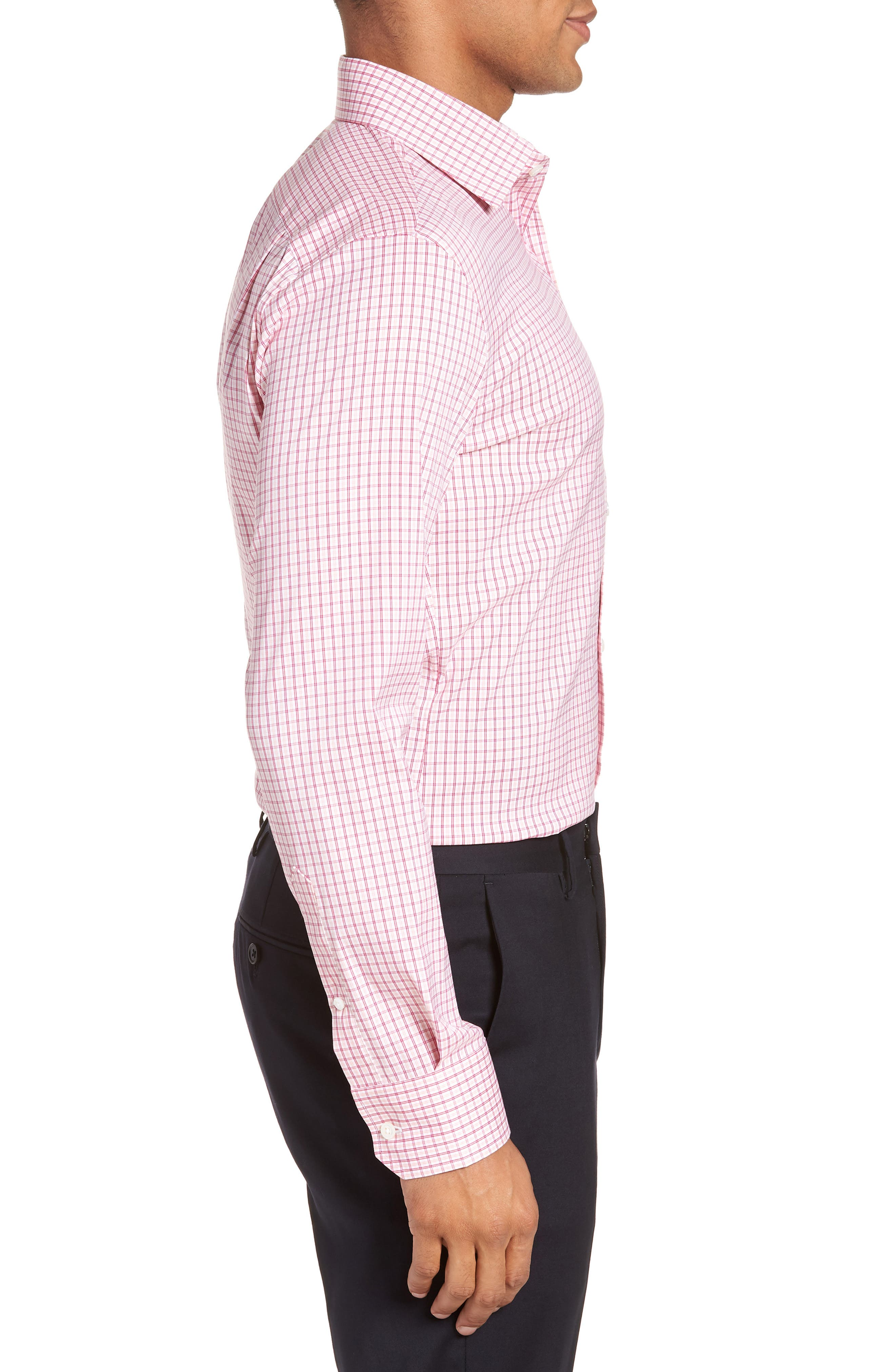 Jetsetter Slim Fit Stretch Check Dress Shirt,                             Alternate thumbnail 4, color,                             Pink Peacock