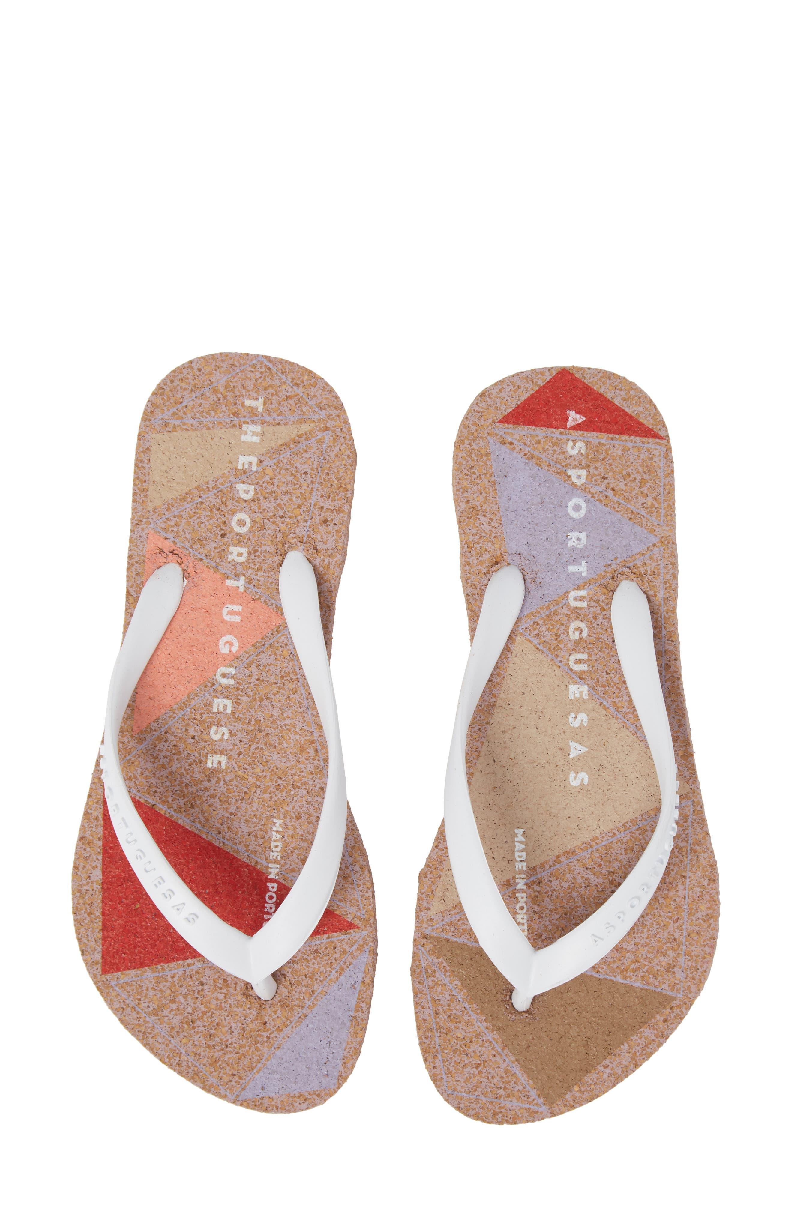 Spot 002 Flip Flop,                         Main,                         color, White/ Rose Fabric