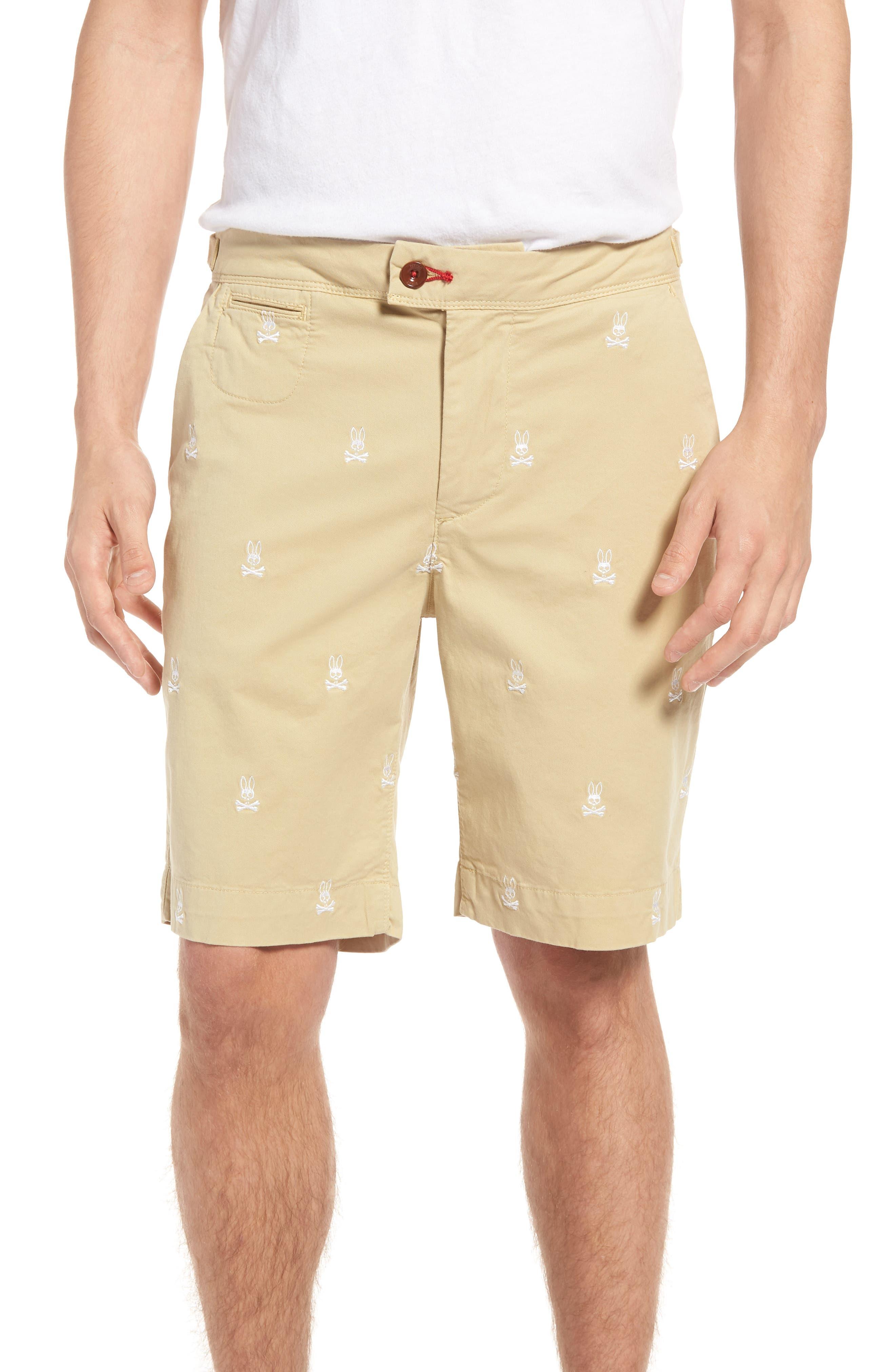 Psycho Bunny Embroidered Shorts,                         Main,                         color, Khaki
