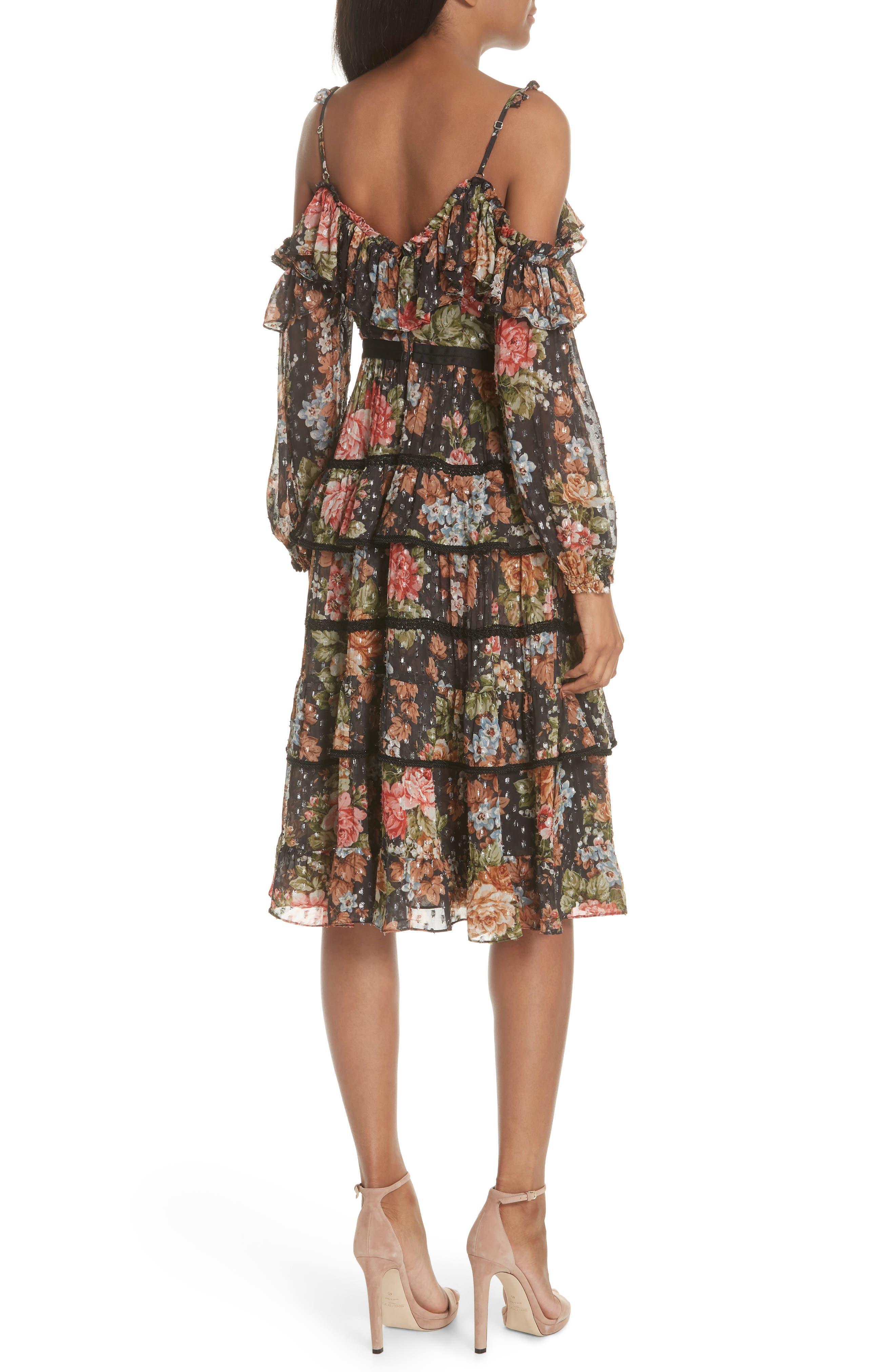 Paradise Rose Shimmer Dress,                             Alternate thumbnail 2, color,                             Graphite