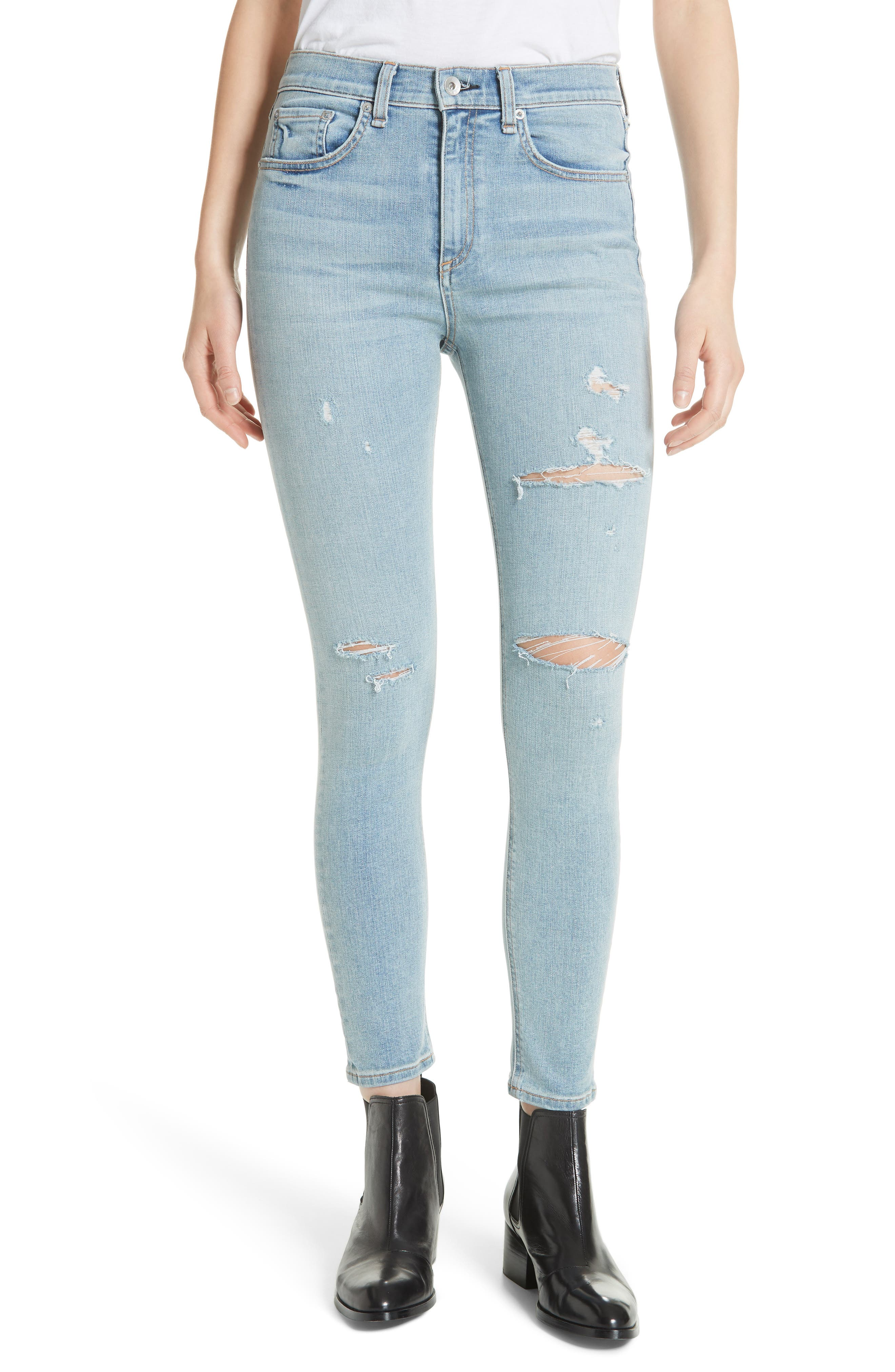 High Waist Ankle Skinny Jeans,                             Main thumbnail 1, color,                             Norlet