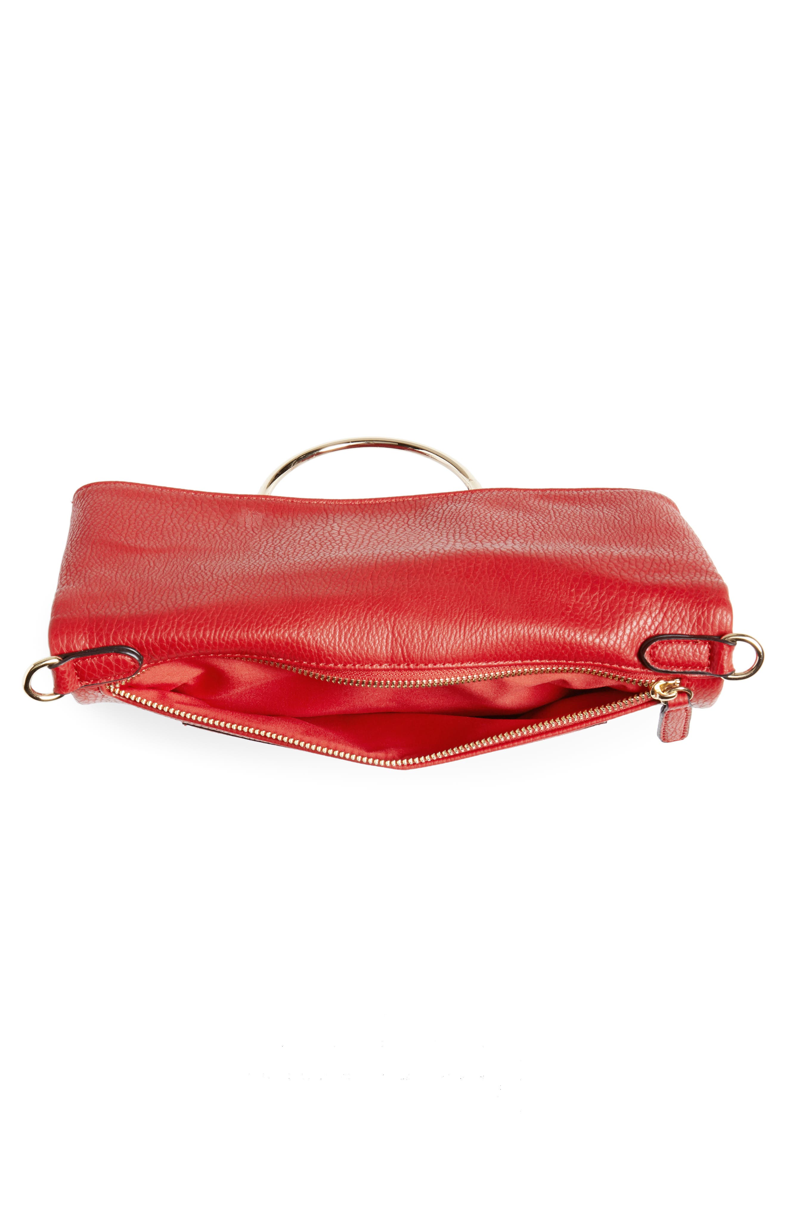 Foldover Ring Clutch,                             Alternate thumbnail 4, color,                             Red