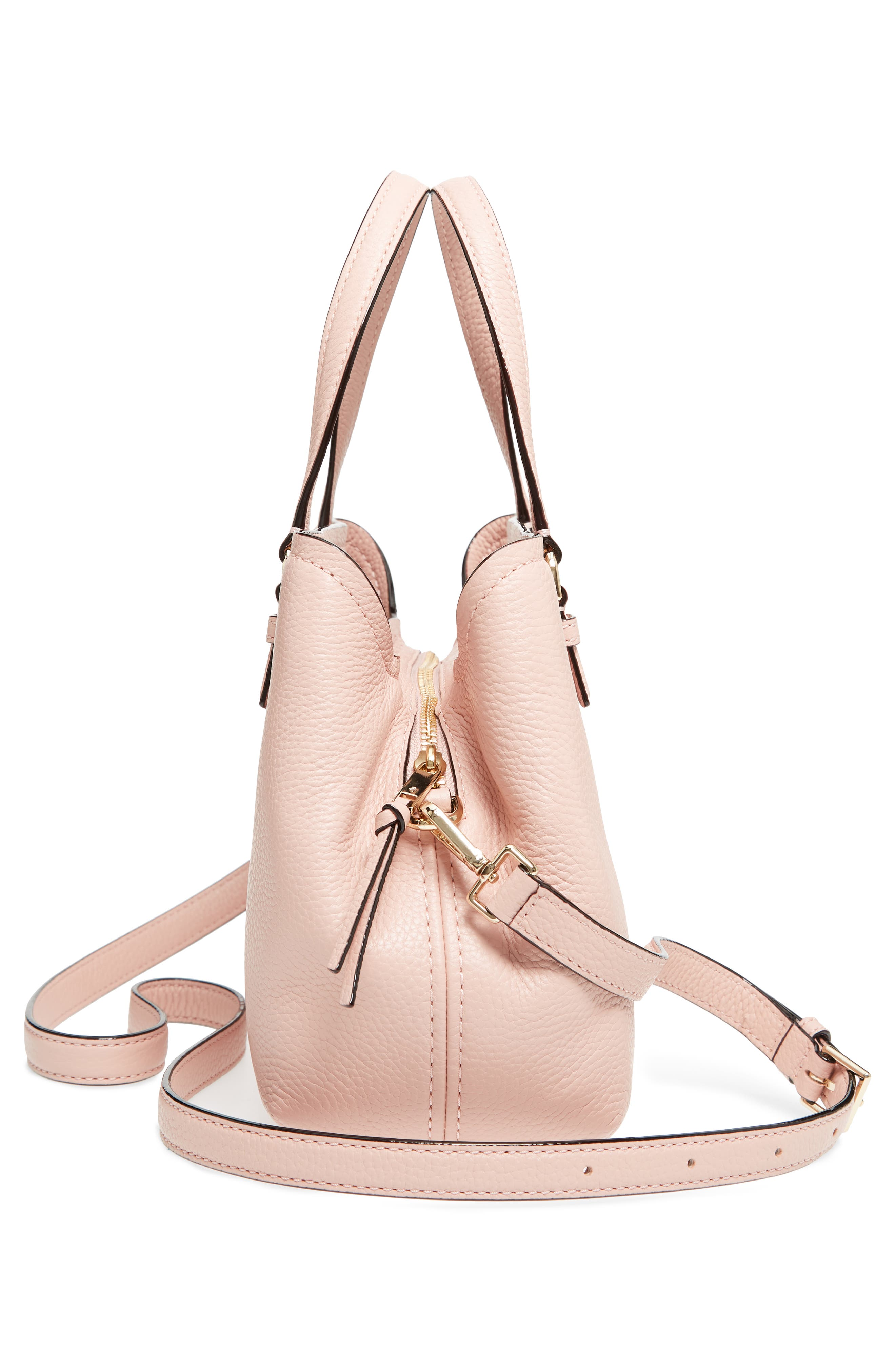 jackson street – small octavia leather satchel,                             Alternate thumbnail 5, color,                             Rosy Cheeks