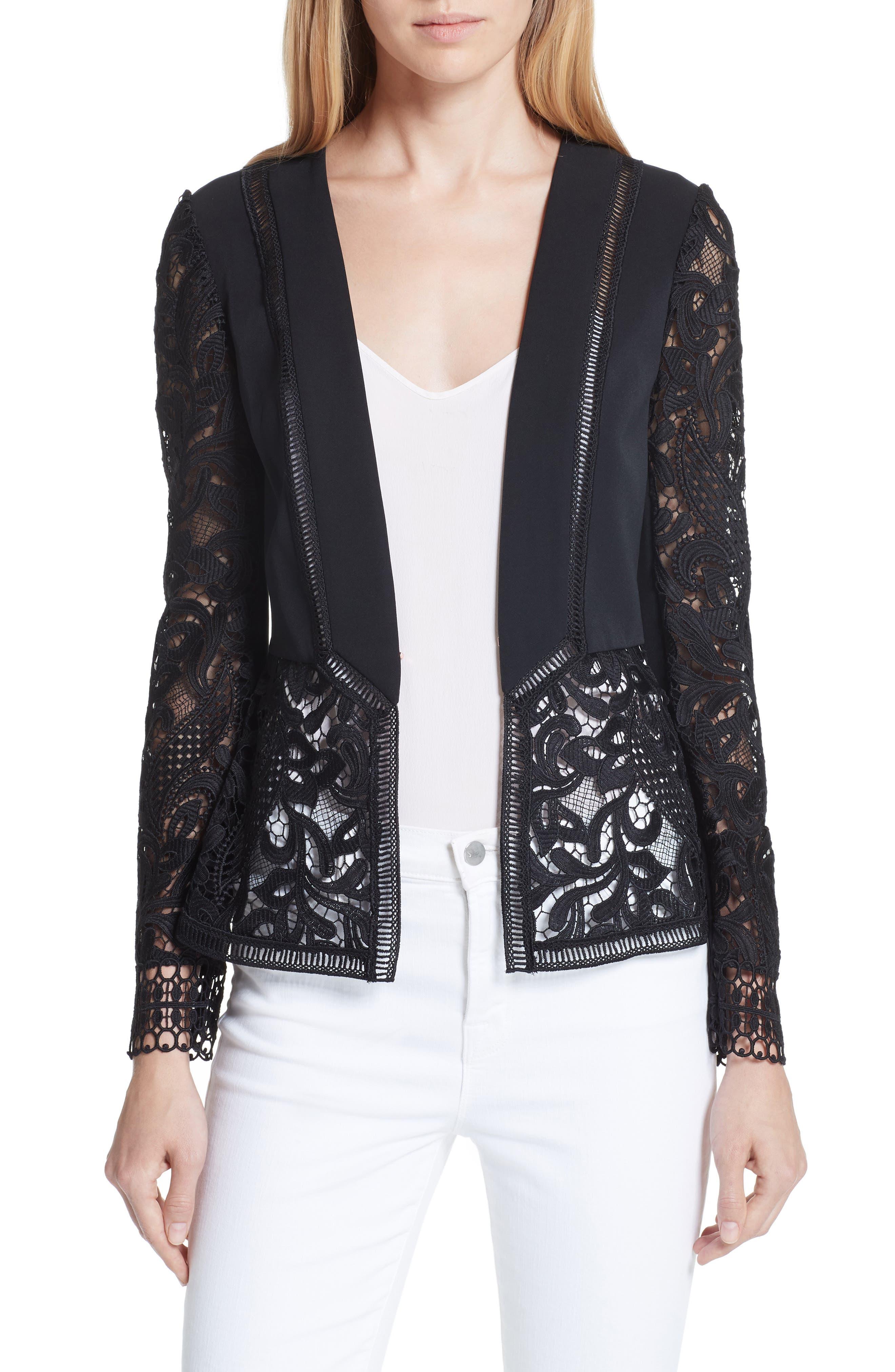 Liela Sheer Lace Panel Jacket,                             Main thumbnail 1, color,                             Black