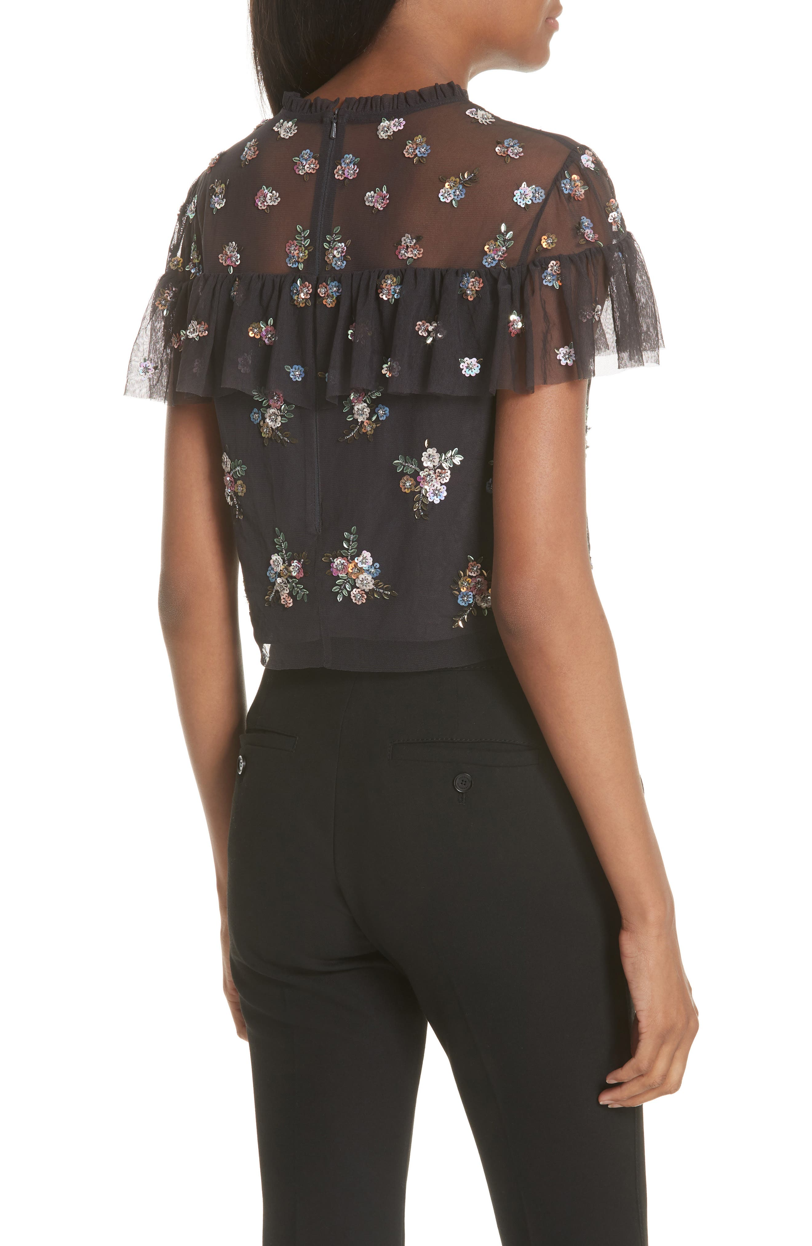 Floral Sequin Crop Top,                             Alternate thumbnail 2, color,                             Graphite