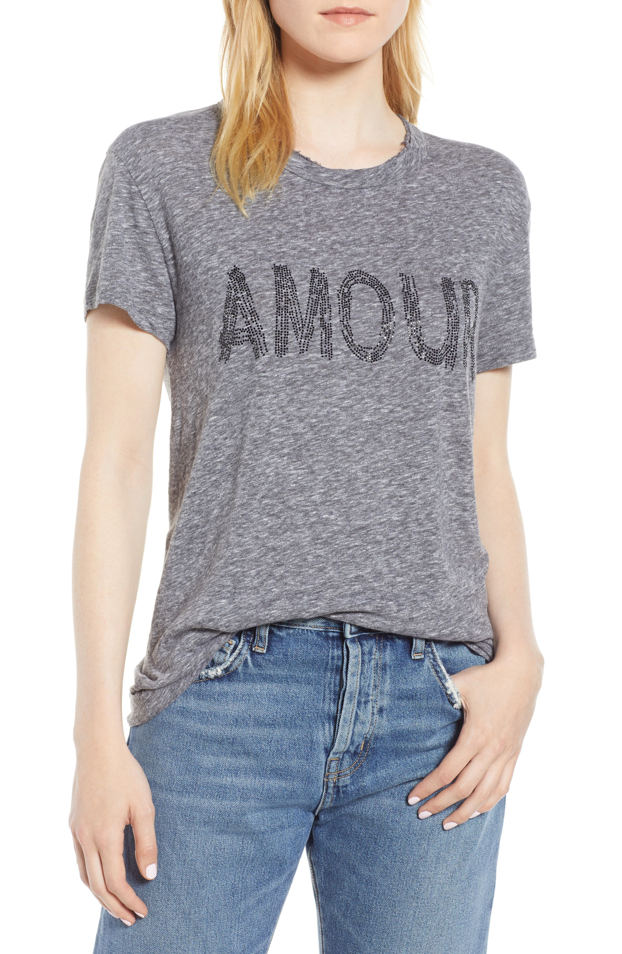 Embellished Graphic Crewneck Tee in Gris