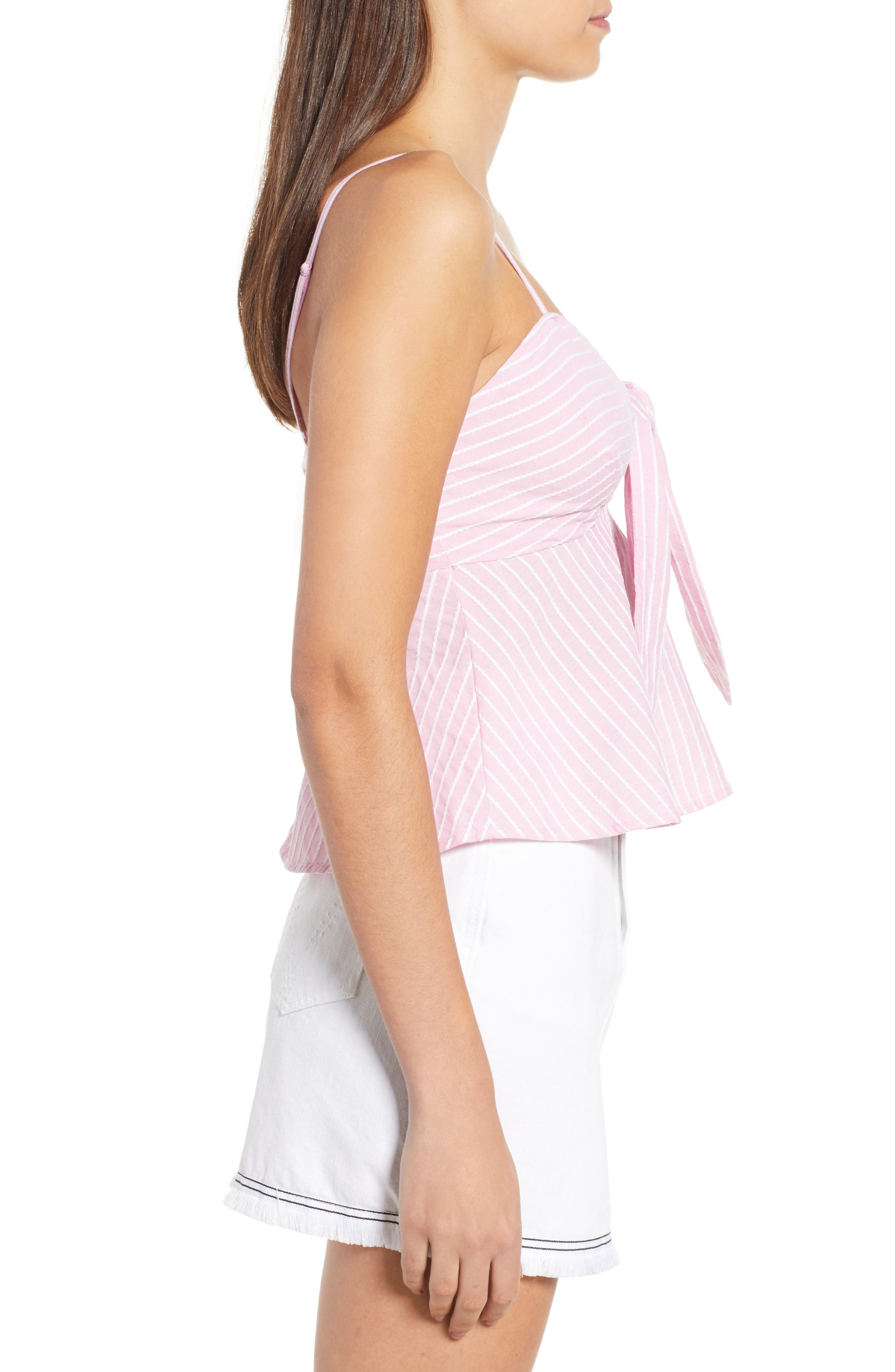 Parcel Stripe Tie Front Tank,                             Alternate thumbnail 4, color,                             Blossom With White
