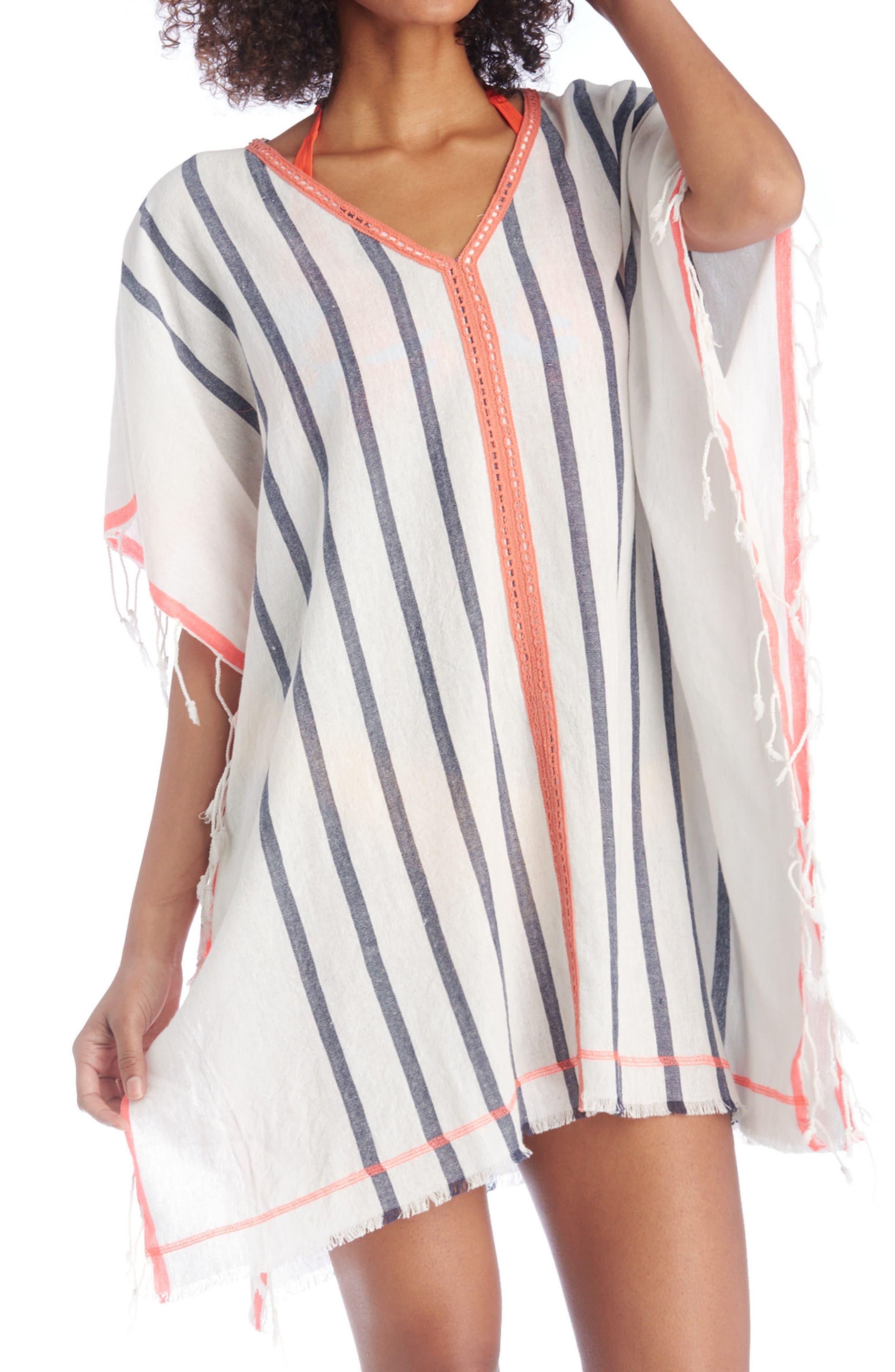 Stripe Poncho,                         Main,                         color, Multi