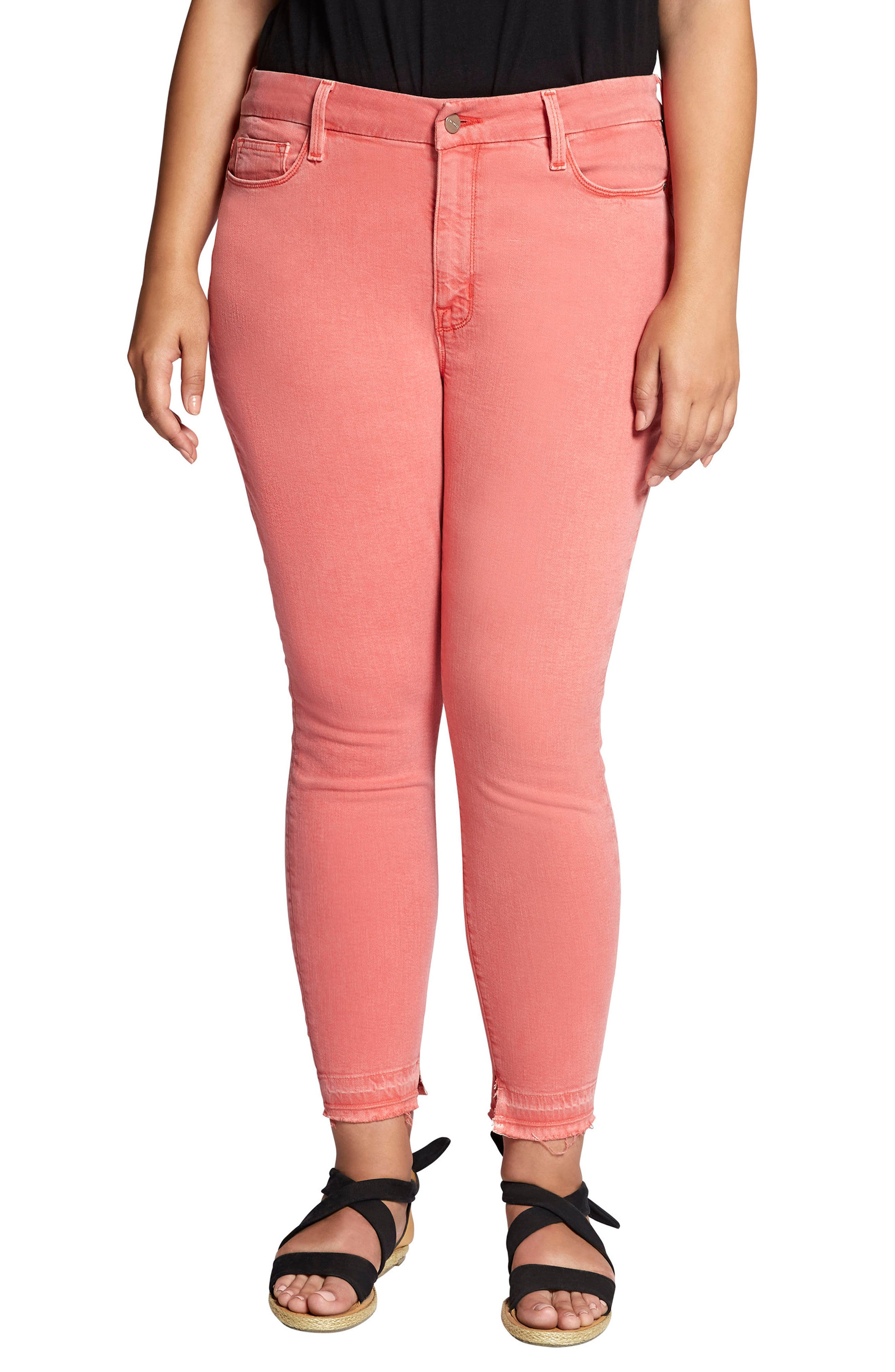 Saige Release Hem Curvy Fit Skinny Jeans,                             Main thumbnail 1, color,                             Chili Wash