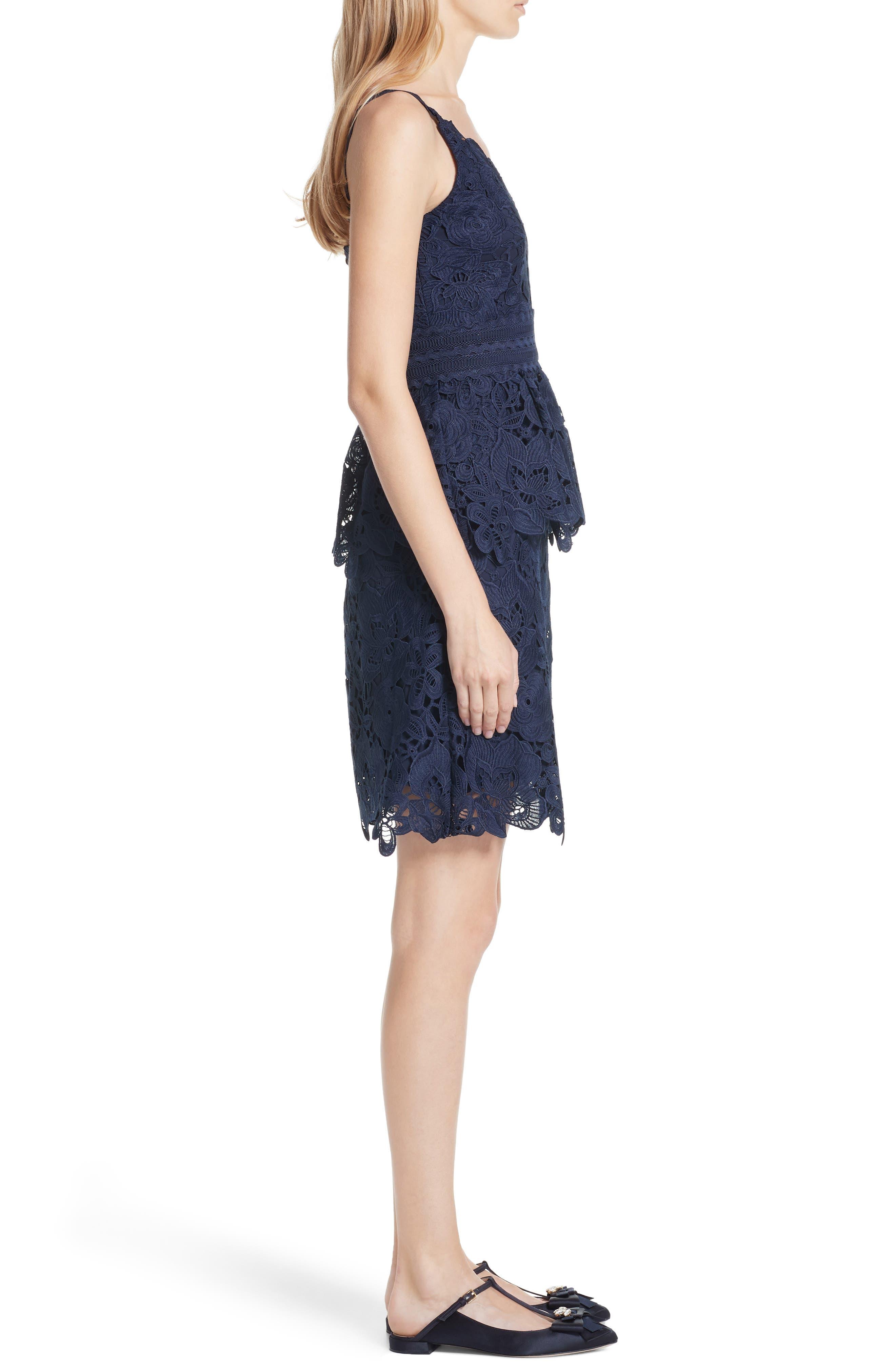Lace Peplum Dress,                             Alternate thumbnail 3, color,                             Navy
