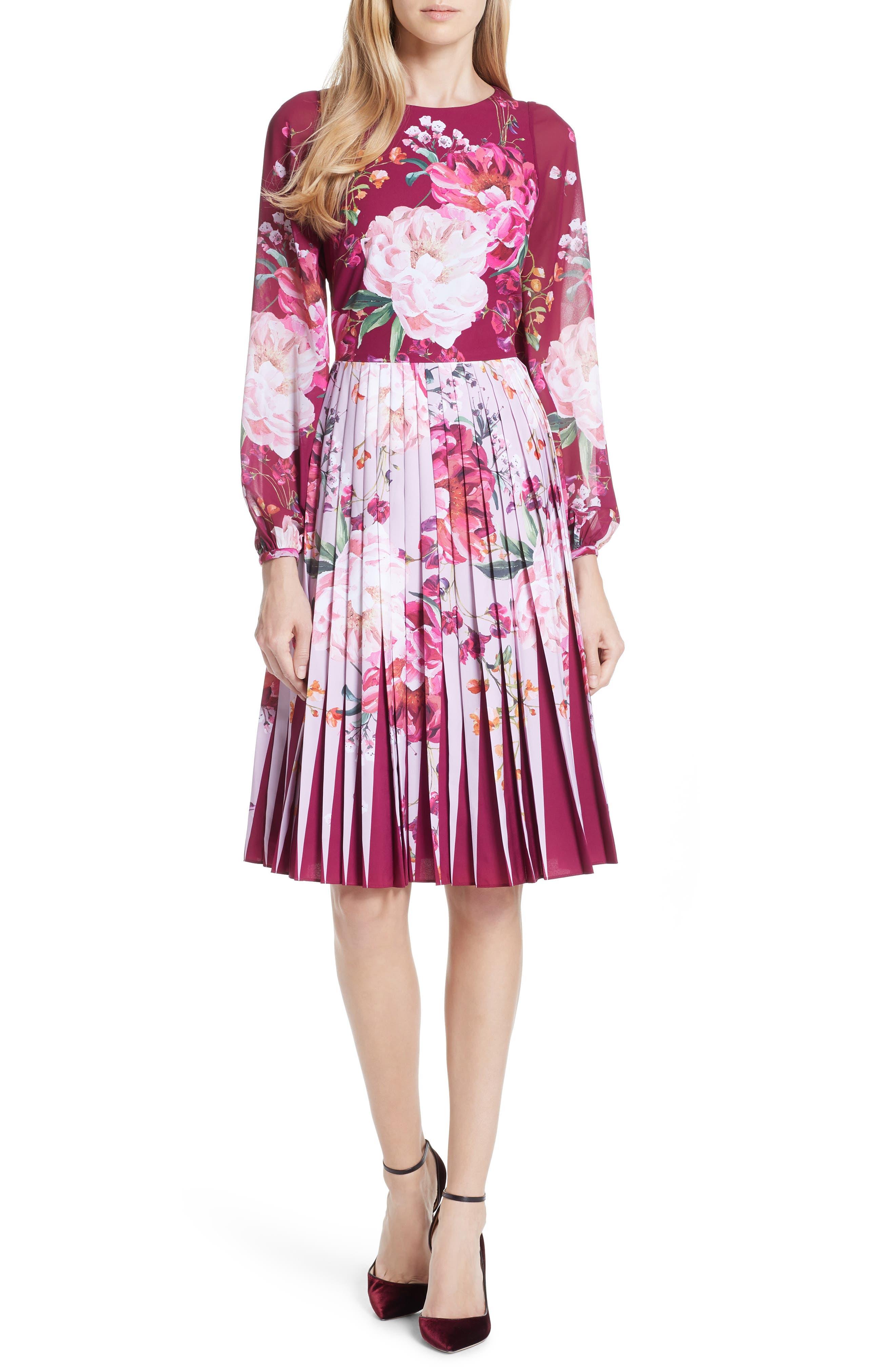 Esperan Serenity Contrast Pleated Skirt Dress,                         Main,                         color, Maroon