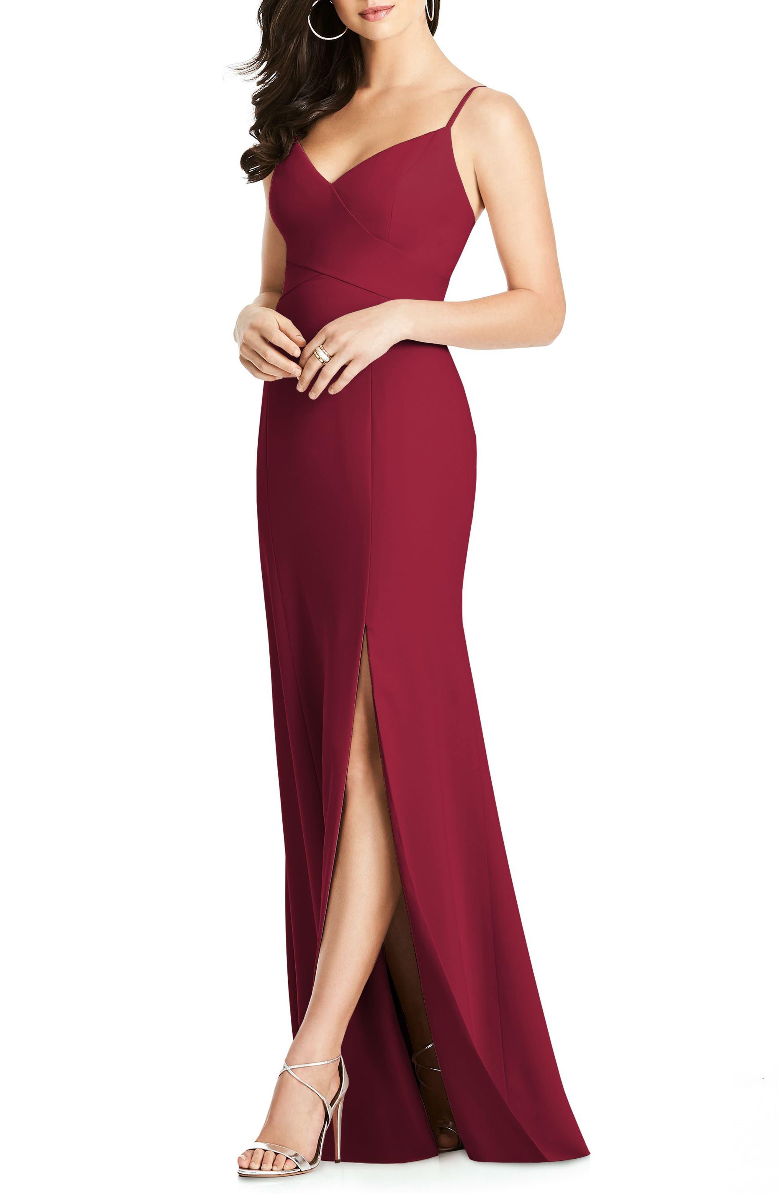 Crisscross Seam Crepe Gown,                             Main thumbnail 1, color,                             Burgundy