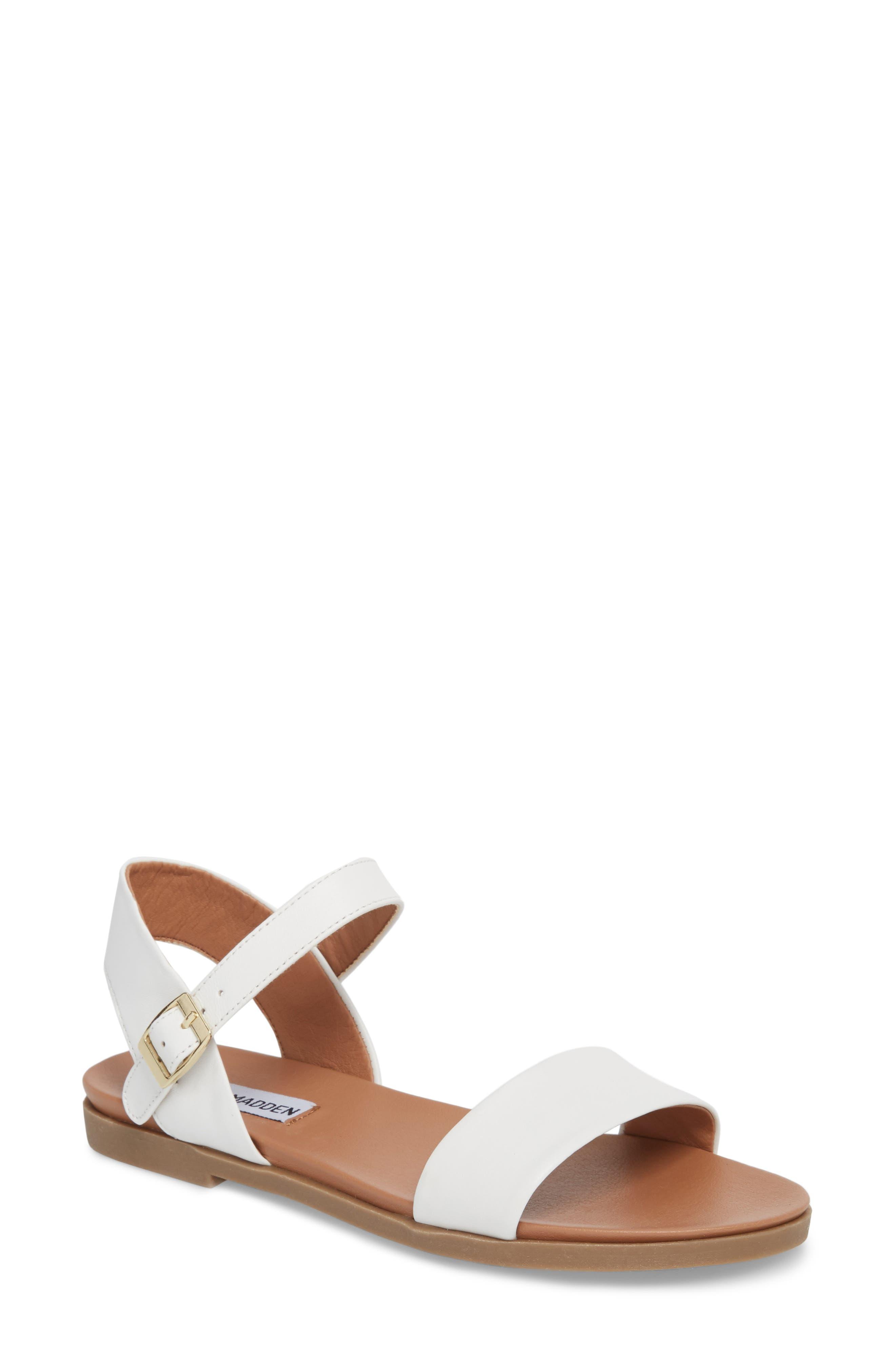 Dina Sandal,                         Main,                         color, White Leather