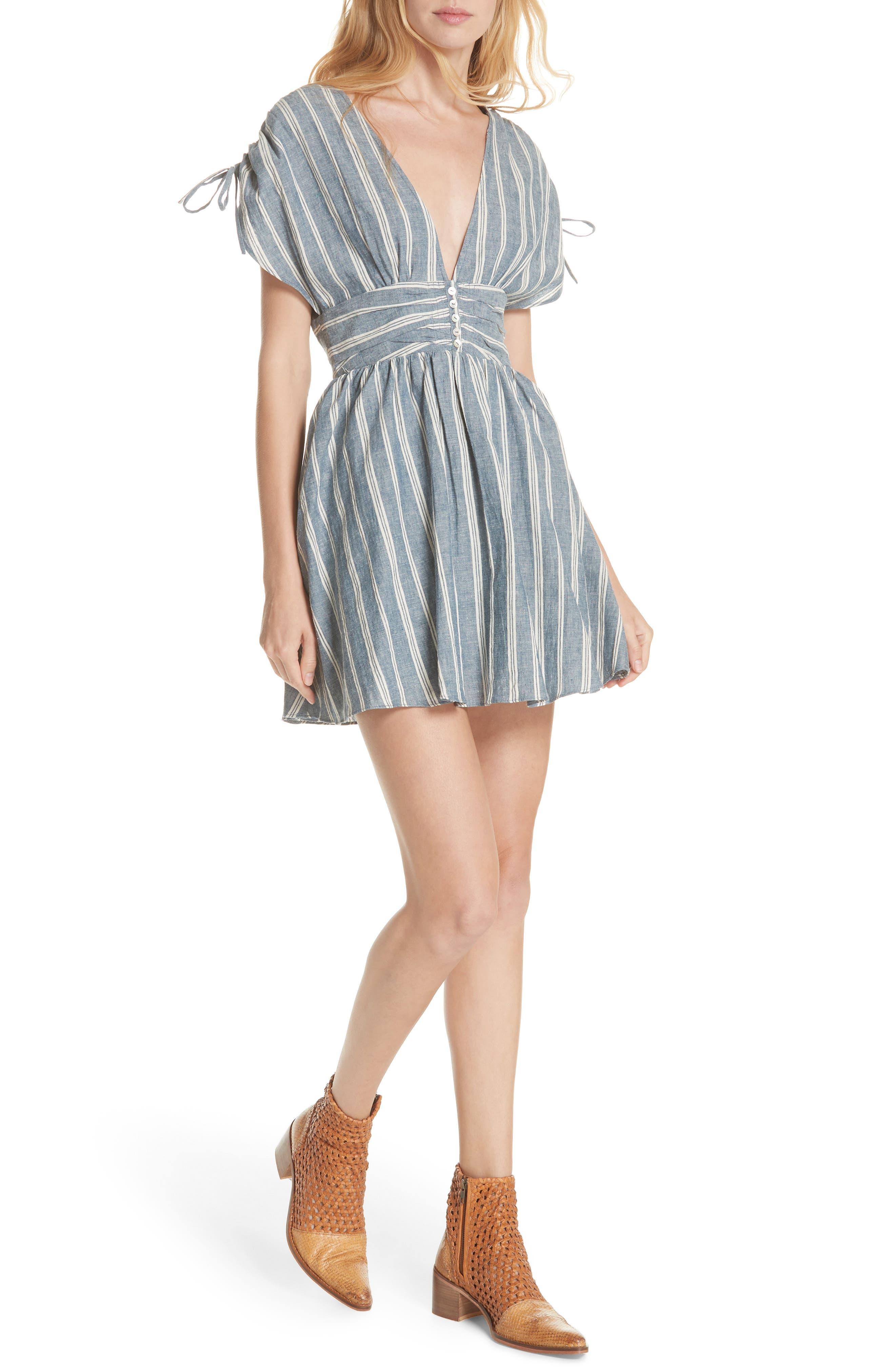 Roll the Dice Stripe Dress,                         Main,                         color, Blue