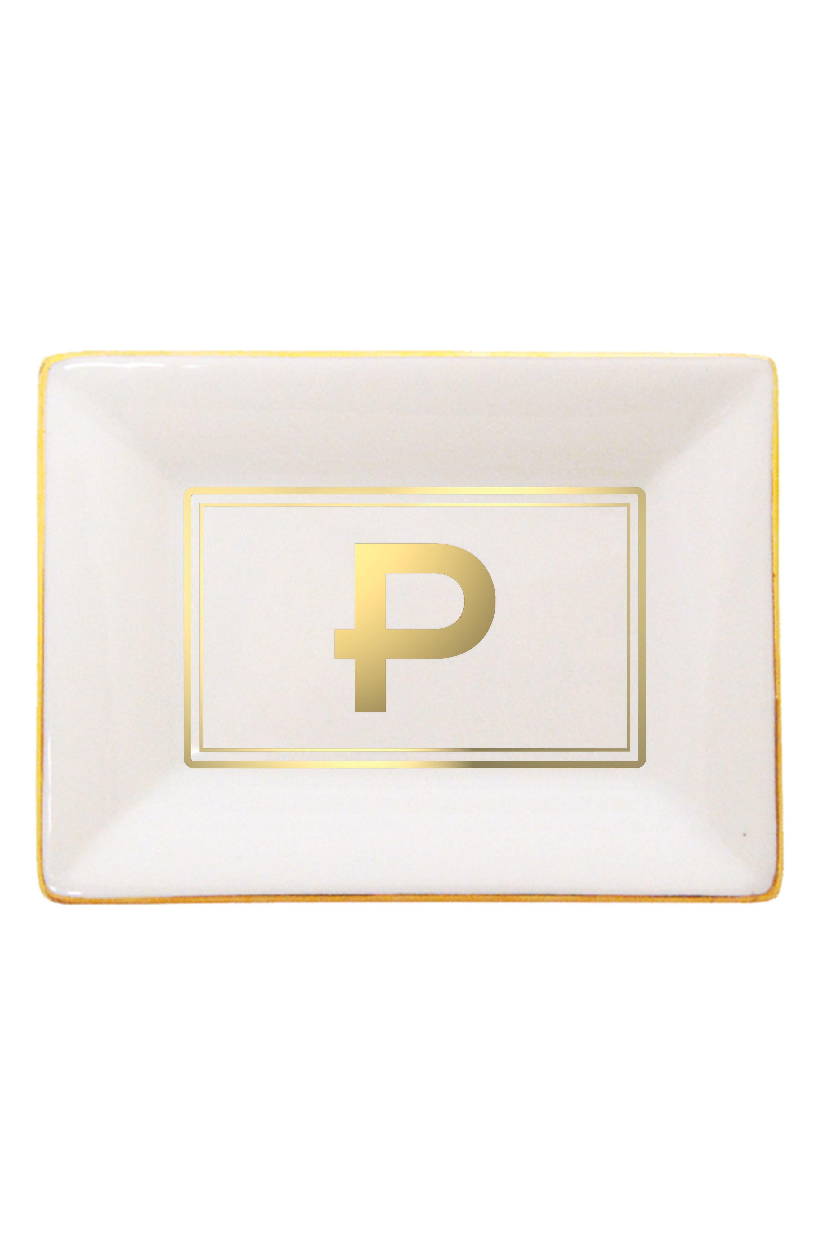 Brooklyn Gold Edge Porcelain Initial Tray,                             Main thumbnail 1, color,                             P