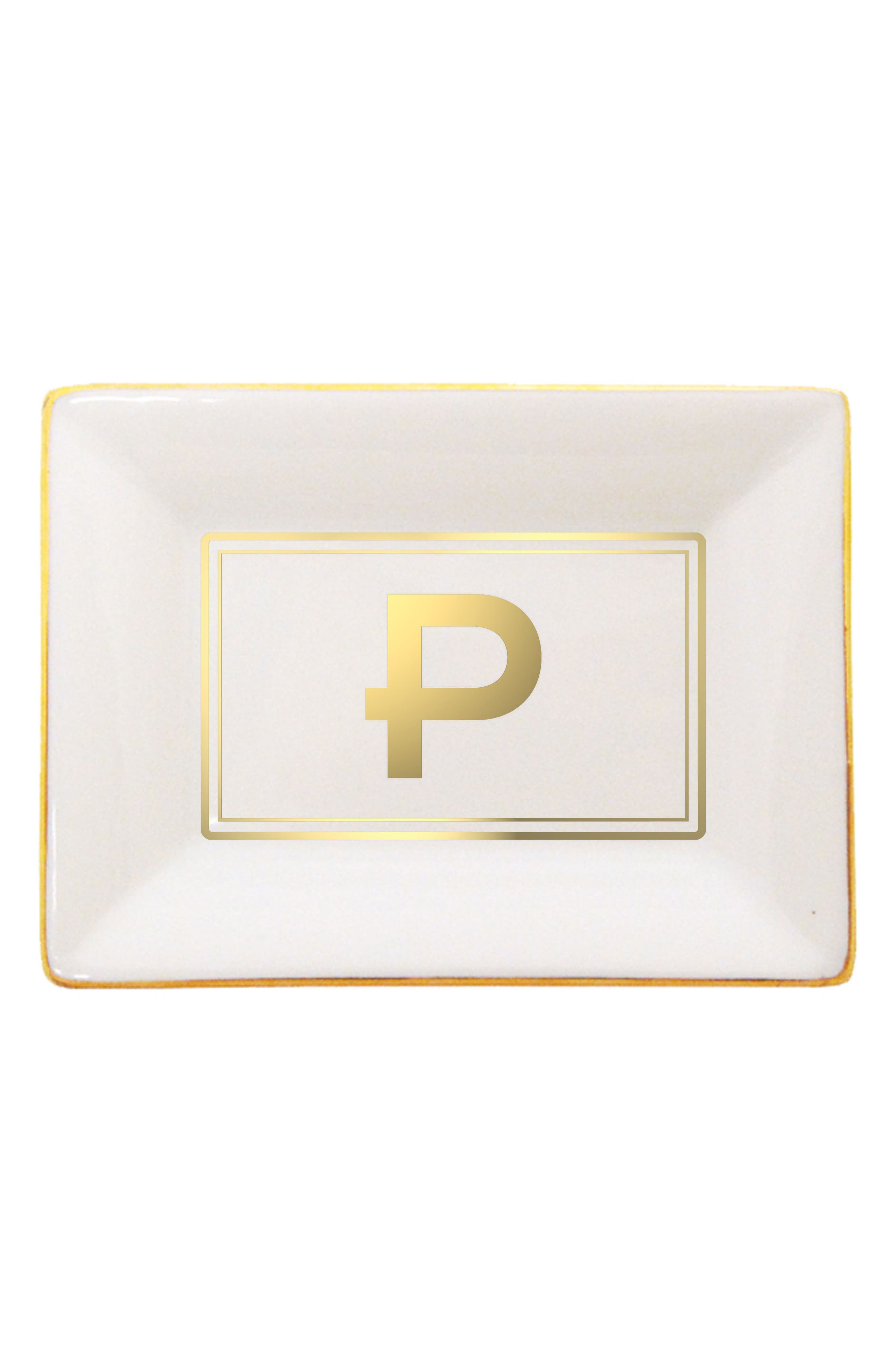 Brooklyn Gold Edge Porcelain Initial Tray,                         Main,                         color, P