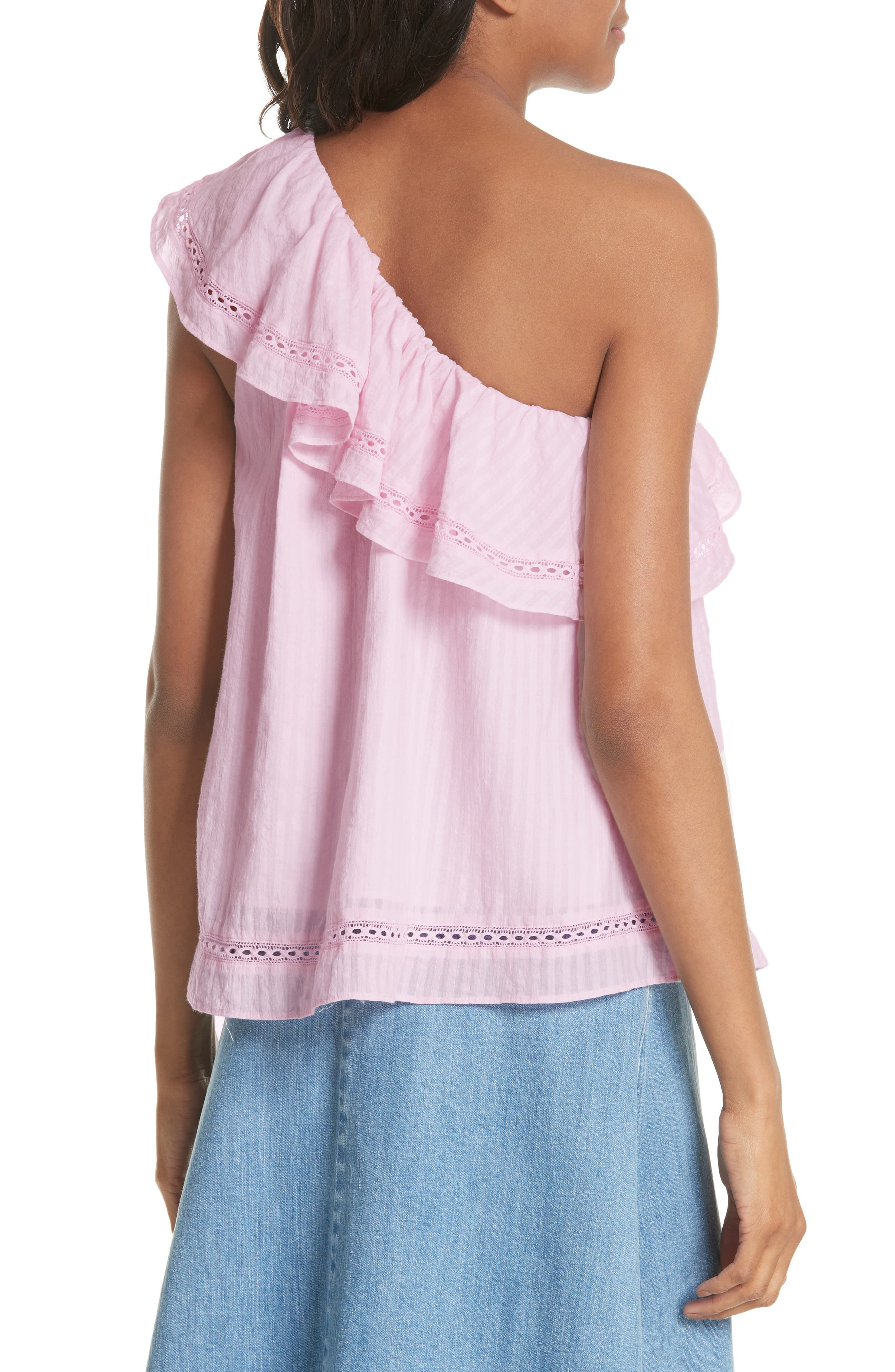 puckered cotton one-shoulder top,                             Alternate thumbnail 2, color,                             Pink Lemonade