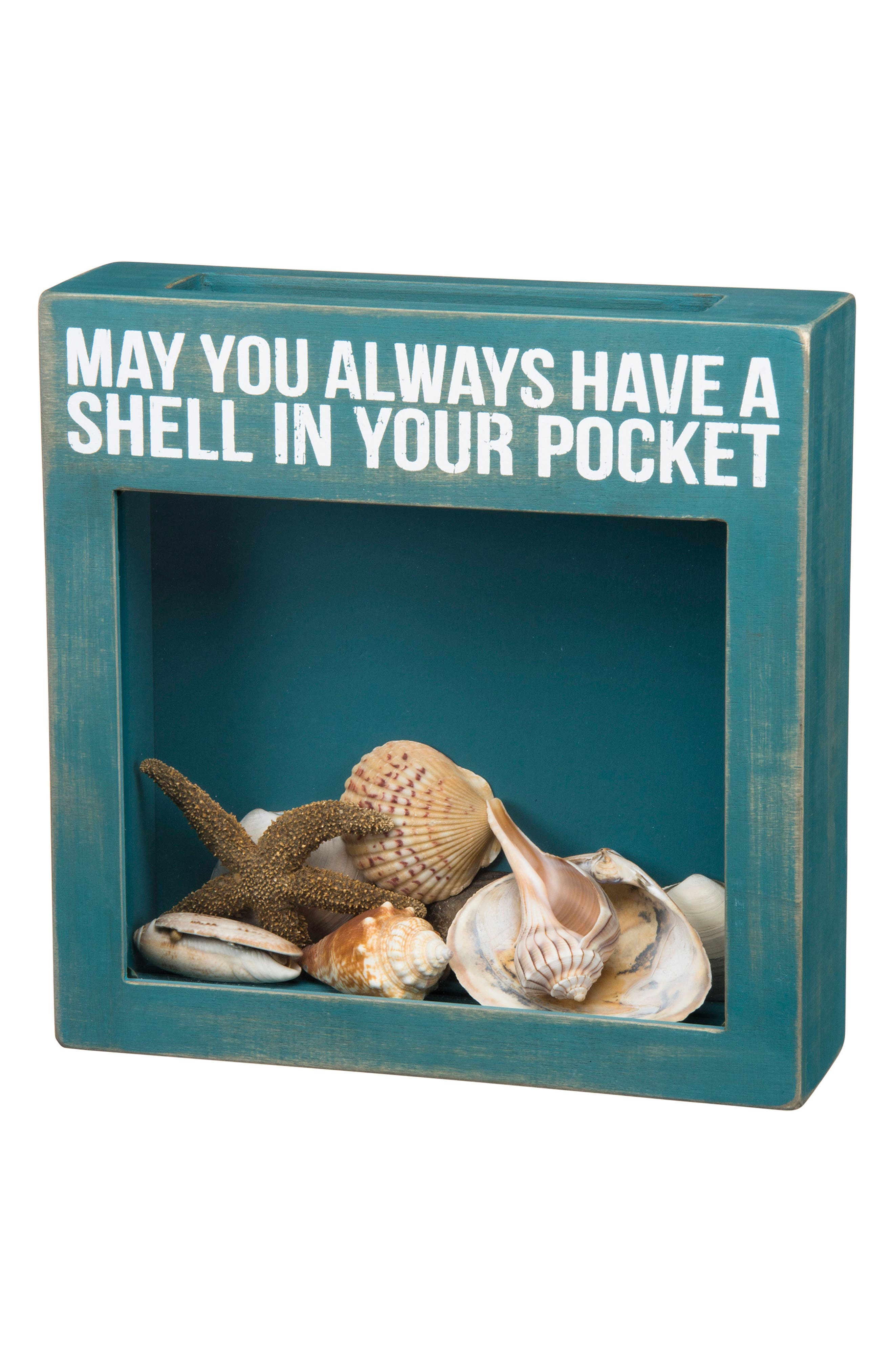 Shell In Your Pocket Shadow Box,                             Main thumbnail 1, color,                             Blue