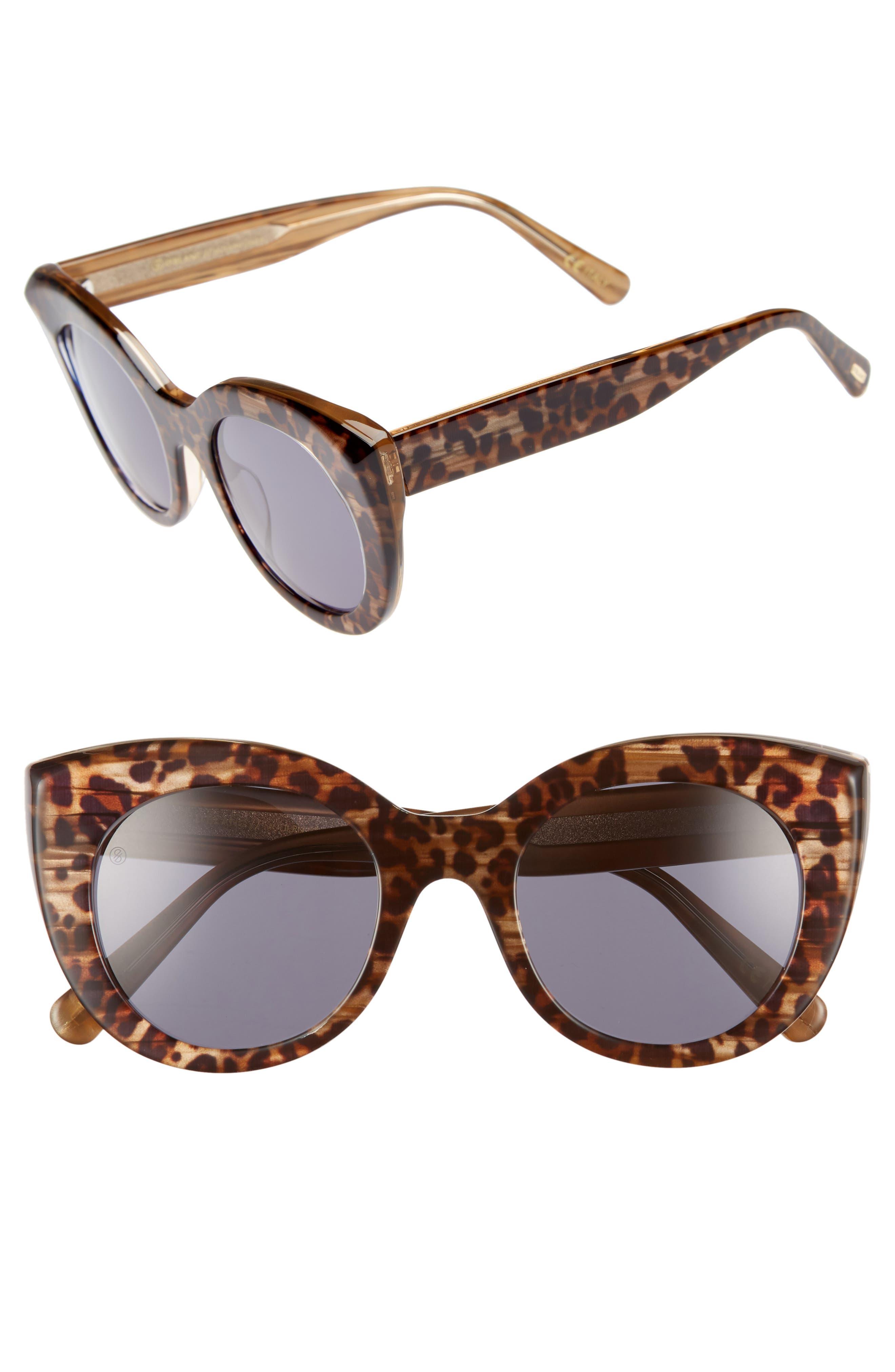 D'BLANC x Amuse Society Modern Lover 51mm Cat Eye Sunglasses,                         Main,                         color, Cheetah/ Grey