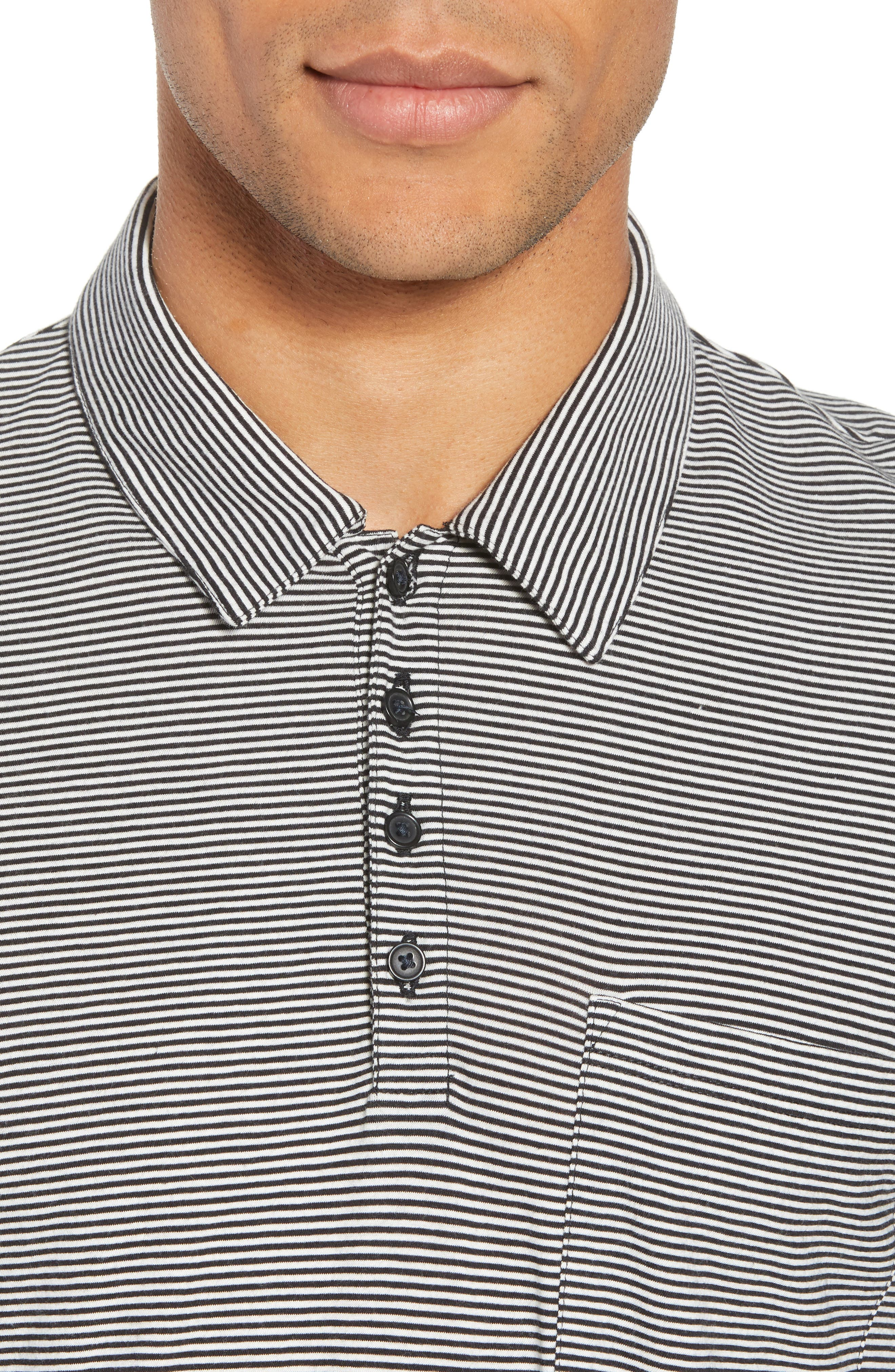 Slim Fit Stripe Polo Shirt,                             Alternate thumbnail 4, color,                             Black/ Leche