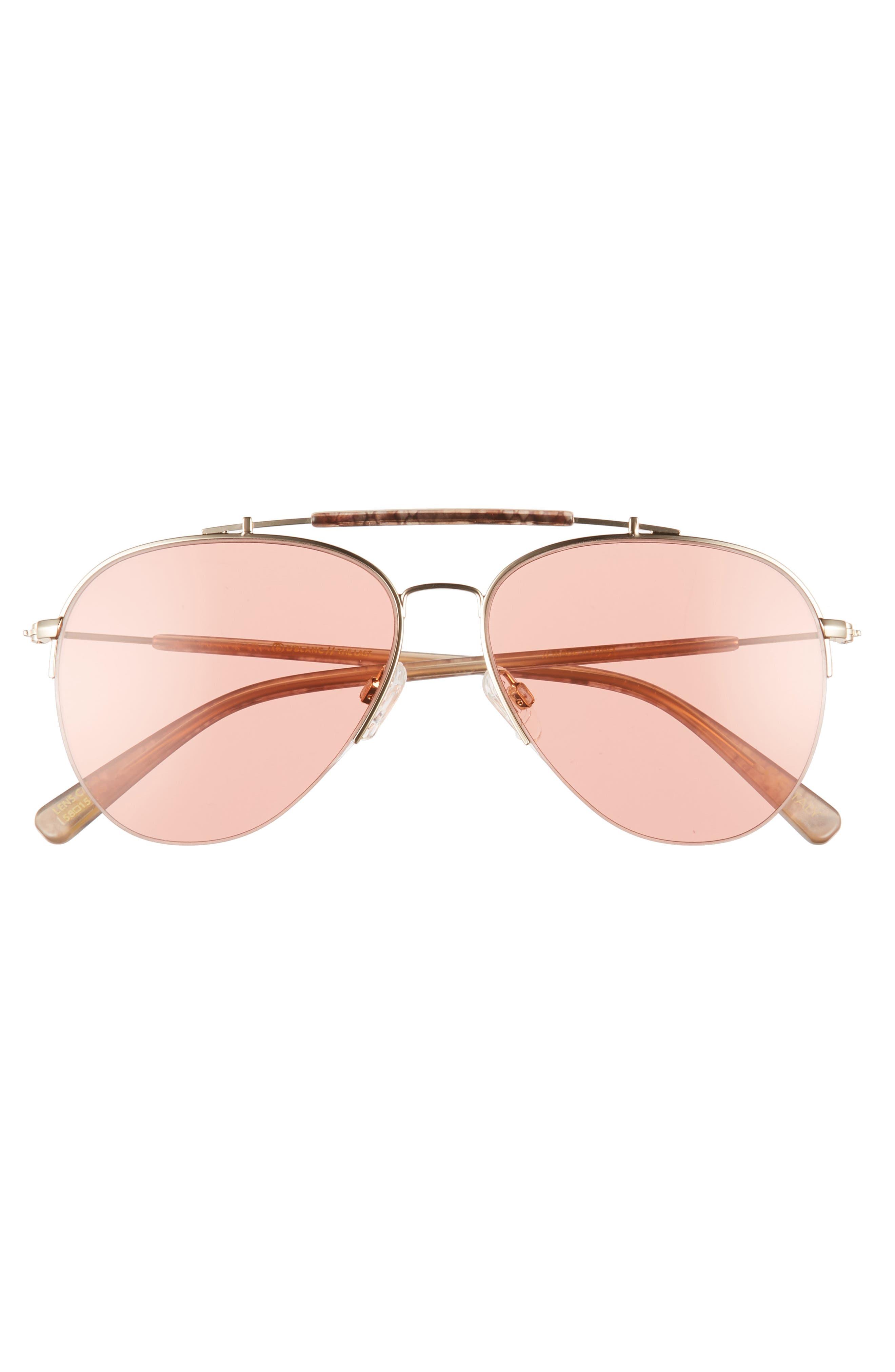 D'BLANC x Amuse Society The Last 58mm Aviator Sunglasses,                             Alternate thumbnail 3, color,                             Rattlesnake/ Persimmon