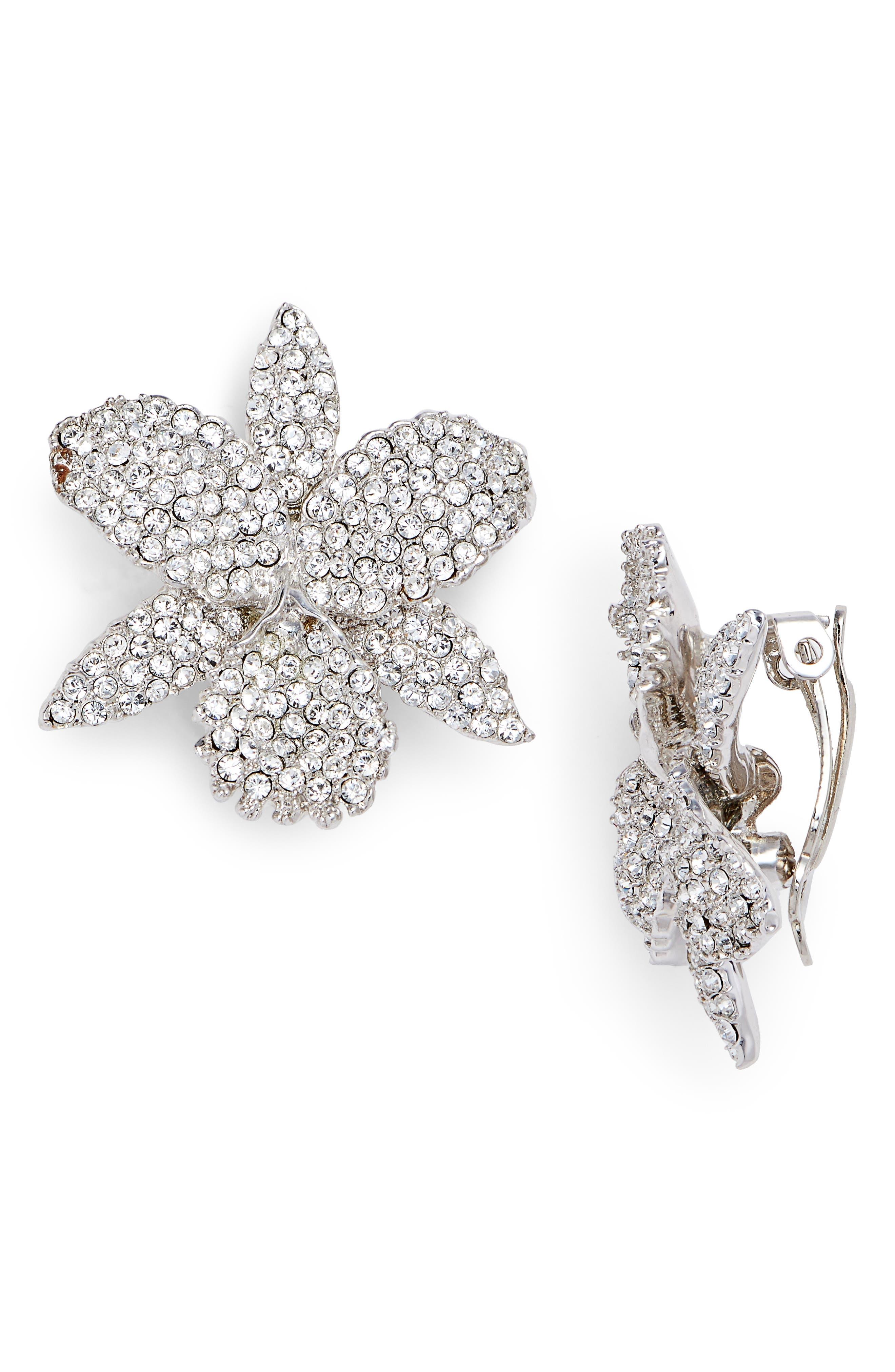 Pavé Orchid Clip Earrings,                         Main,                         color, White/ Silver