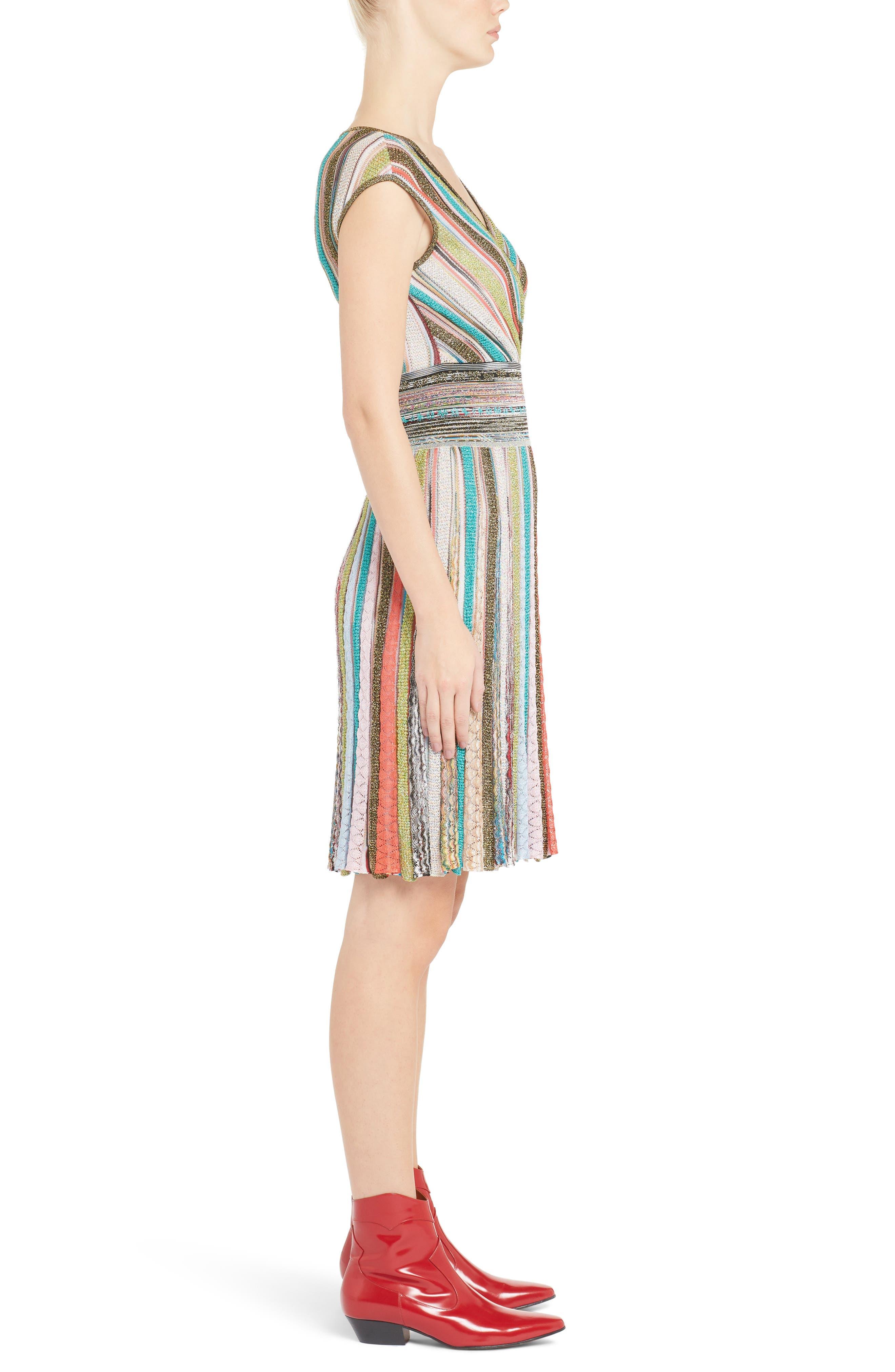 Metallic Stripe Dress,                             Alternate thumbnail 3, color,                             Multi