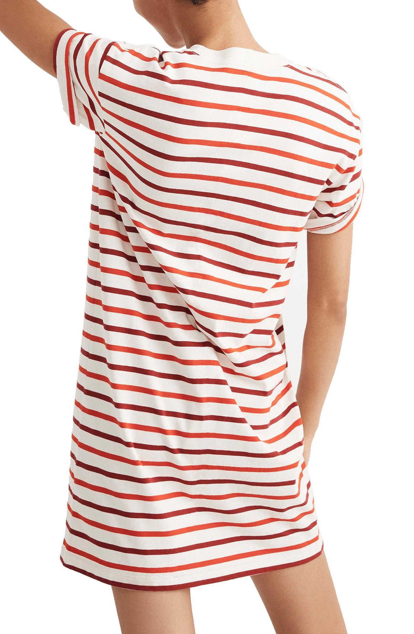 Stripe Pocket T-Shirt Dress,                             Alternate thumbnail 2, color,                             Ripe Persimmon