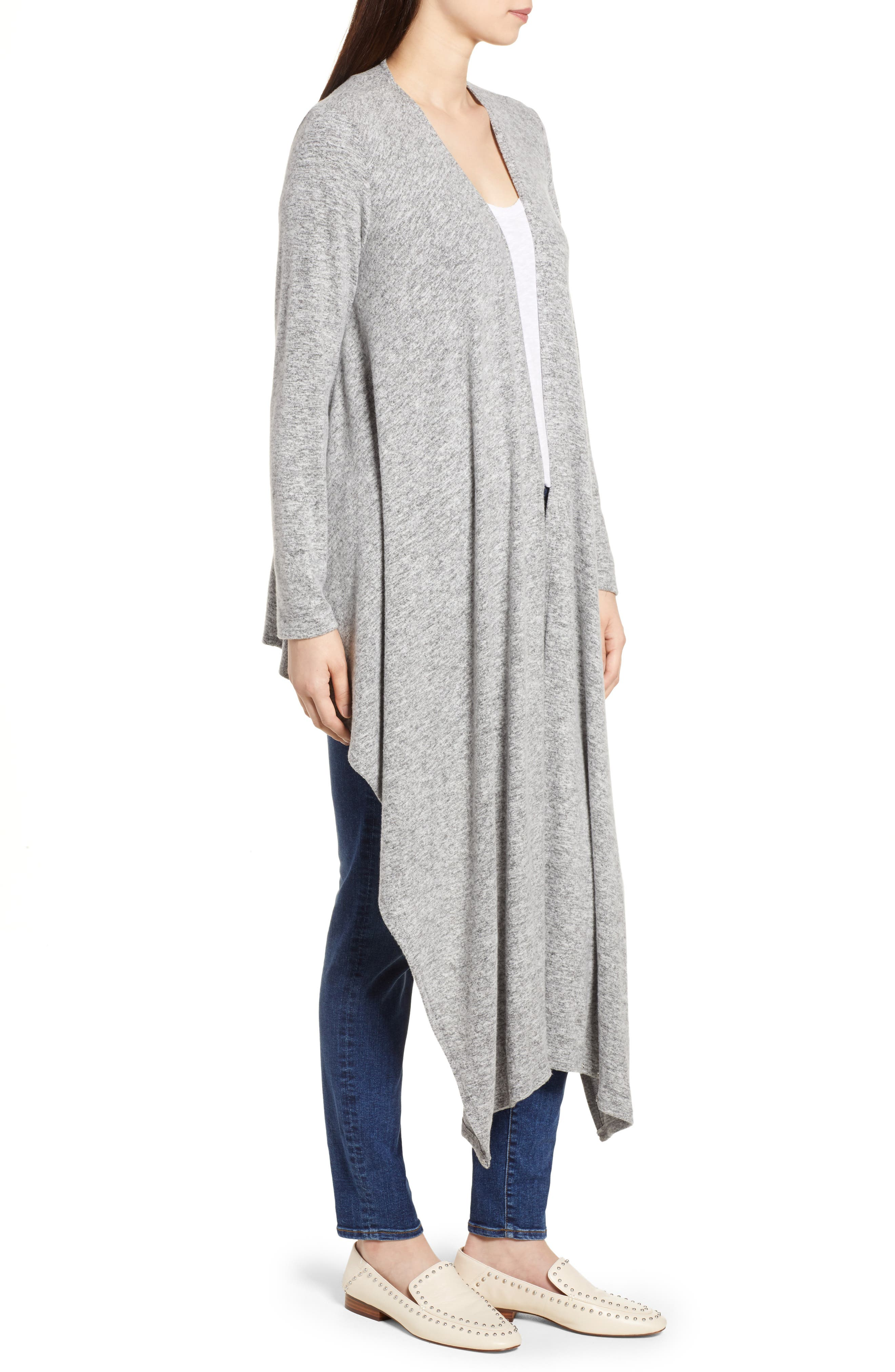Convertible Cozy Fleece Wrap Cardigan,                             Alternate thumbnail 3, color,                             Heather Grey