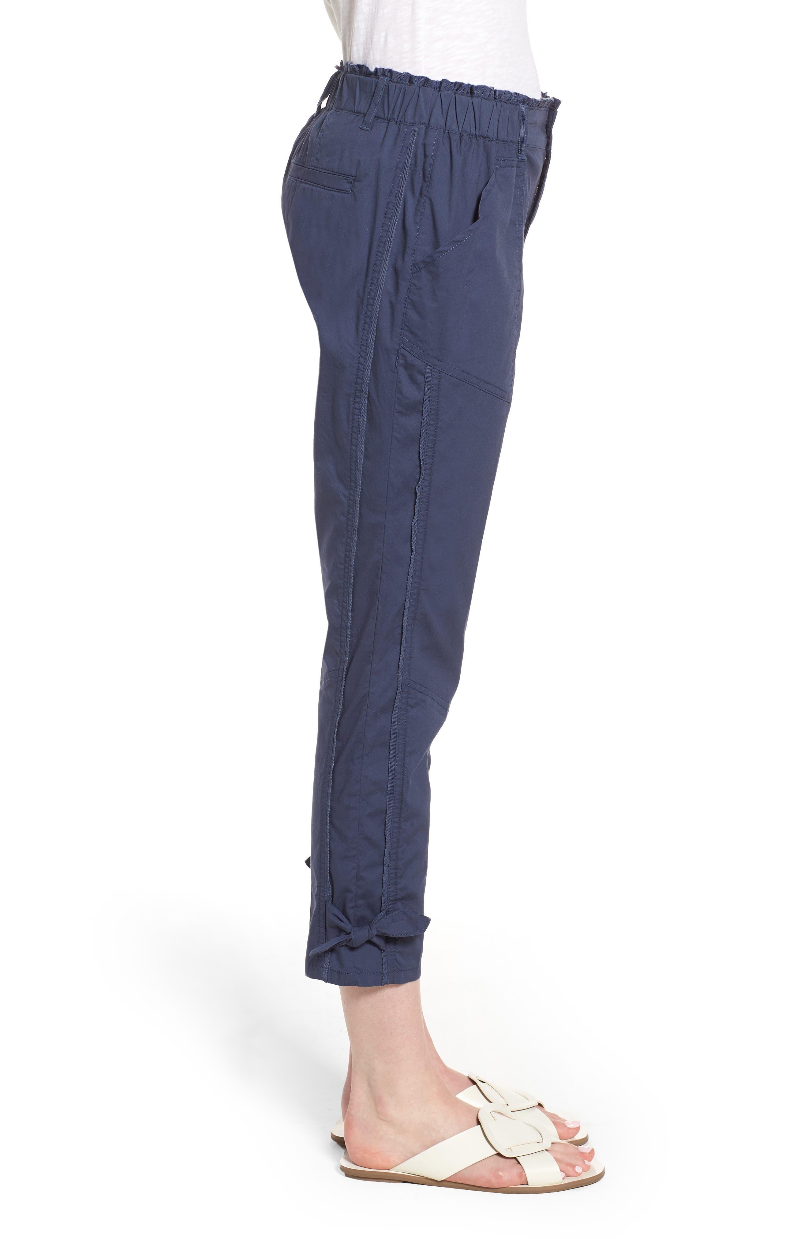Tie Cuff Stretch Cotton Crop Pants,                             Alternate thumbnail 3, color,                             Ensign Blue