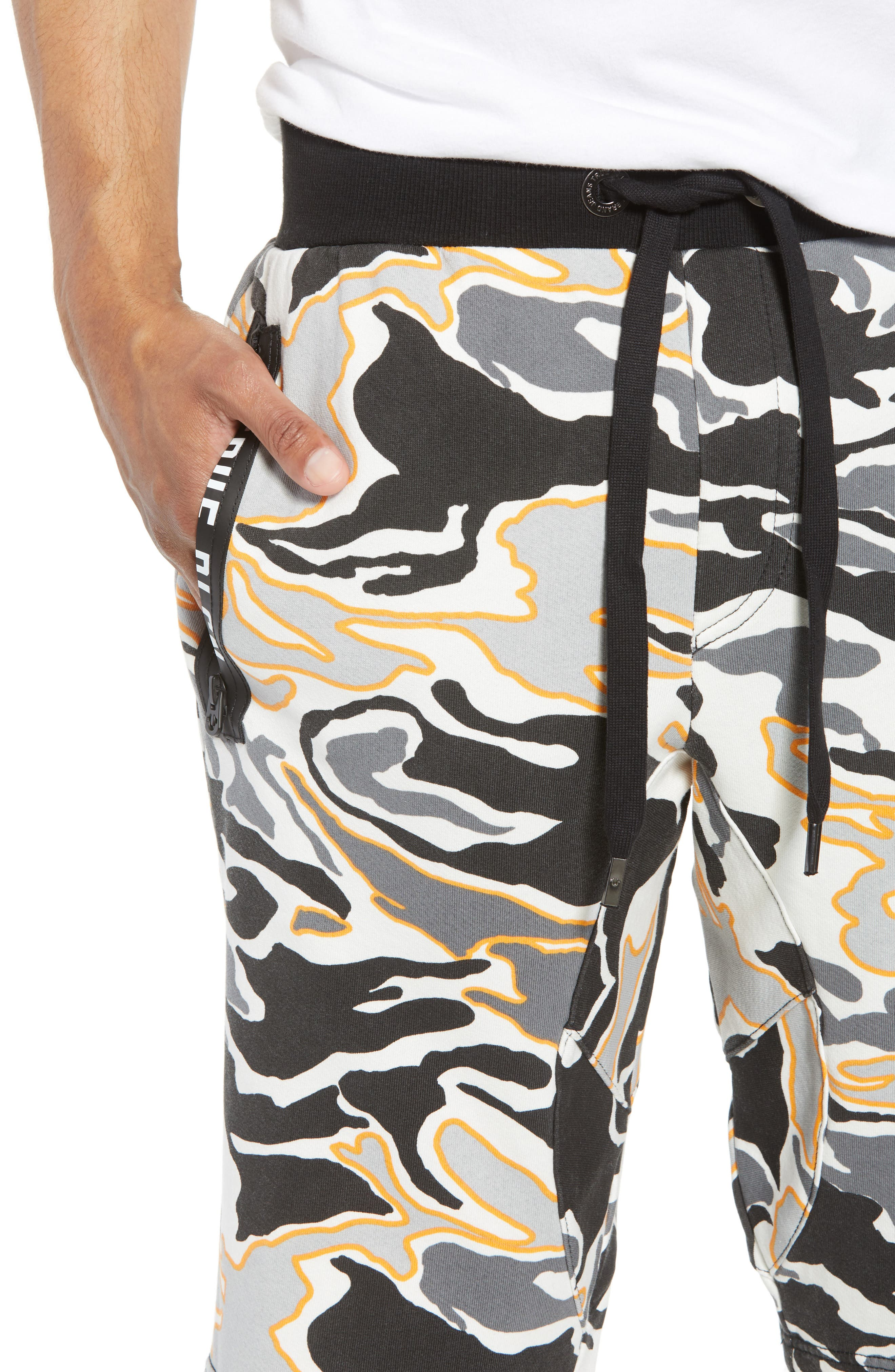 Exposed Zip Sweat Shorts,                             Alternate thumbnail 4, color,                             Multi Grey Camo