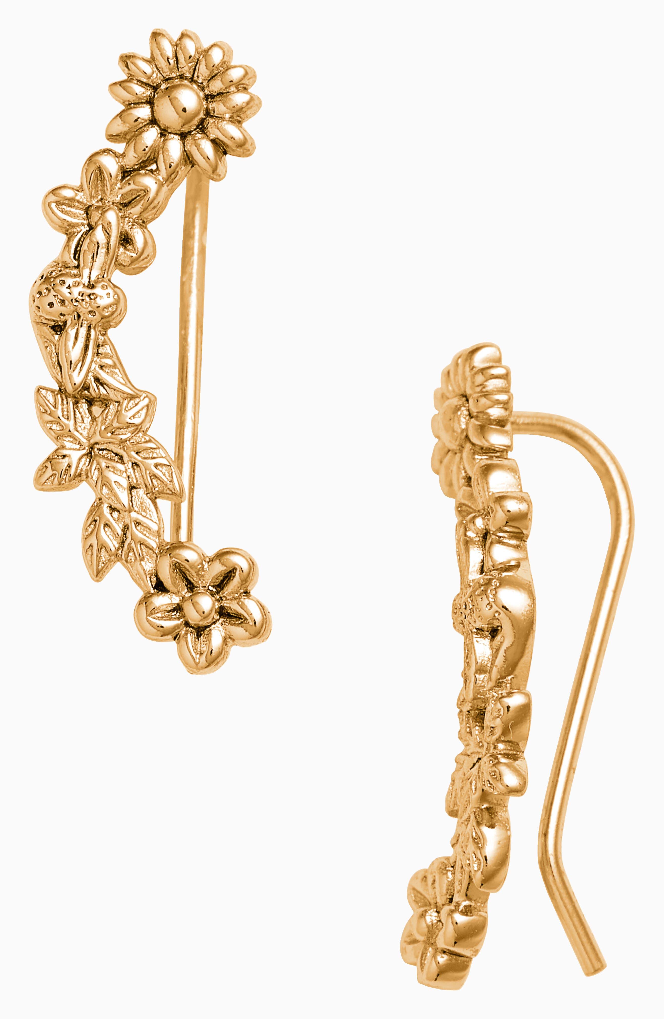 Bee Blooms Crawler Earrings,                             Main thumbnail 1, color,                             Gold