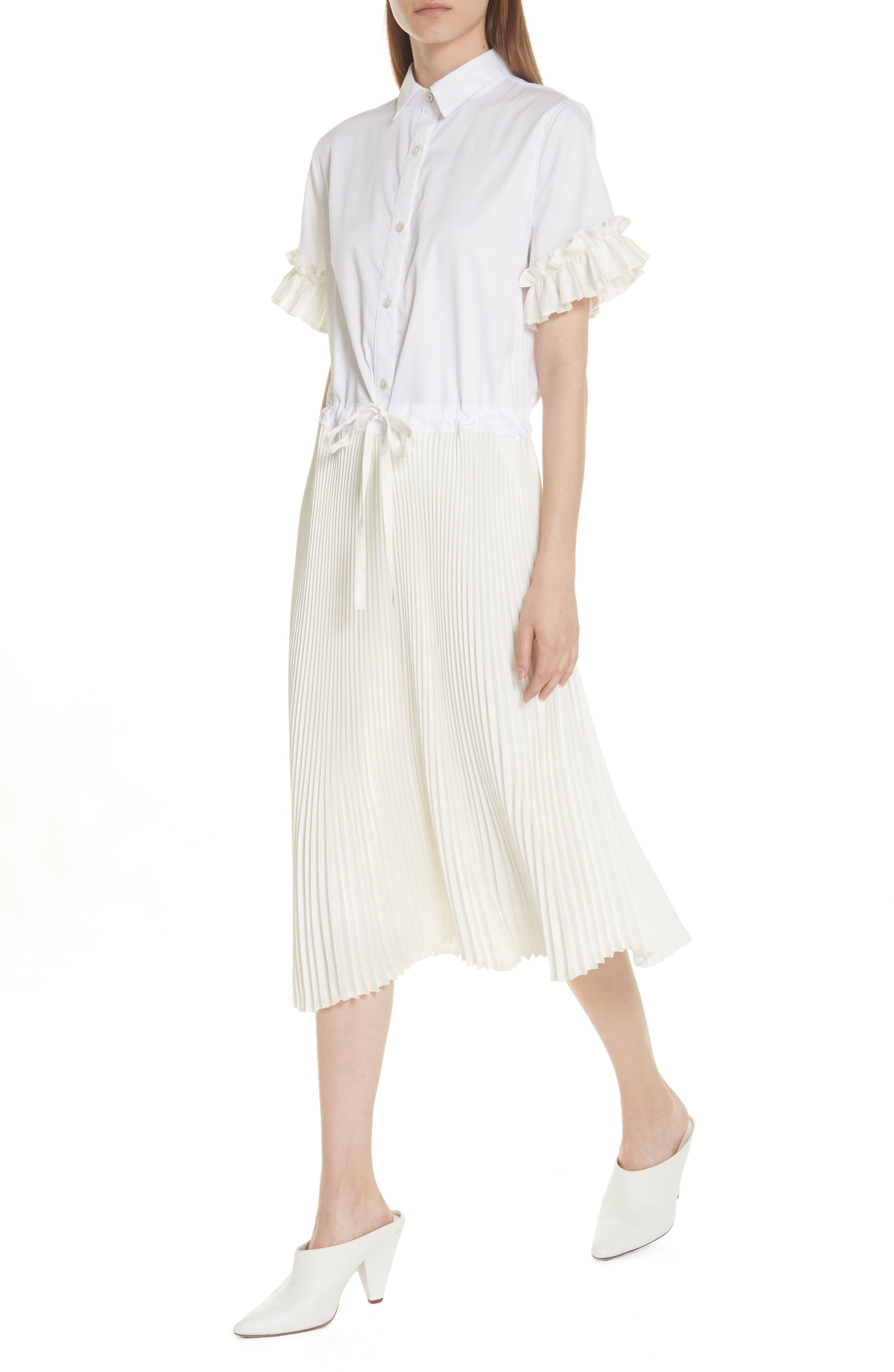 Pleat Midi Shirtdress,                             Alternate thumbnail 4, color,                             White
