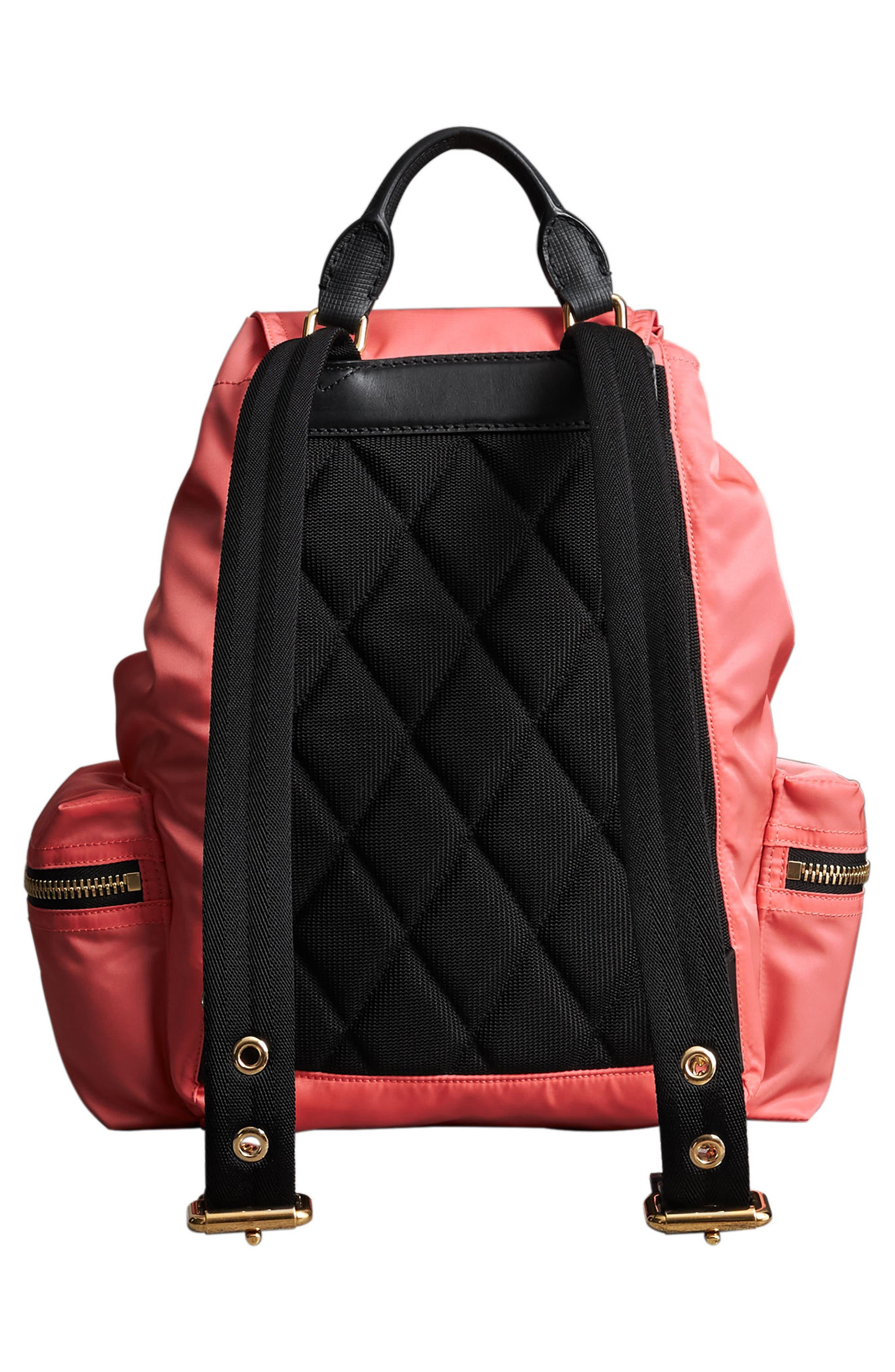 Medium Rucksack Nylon Backpack,                             Alternate thumbnail 2, color,                             Bright Coral Pink