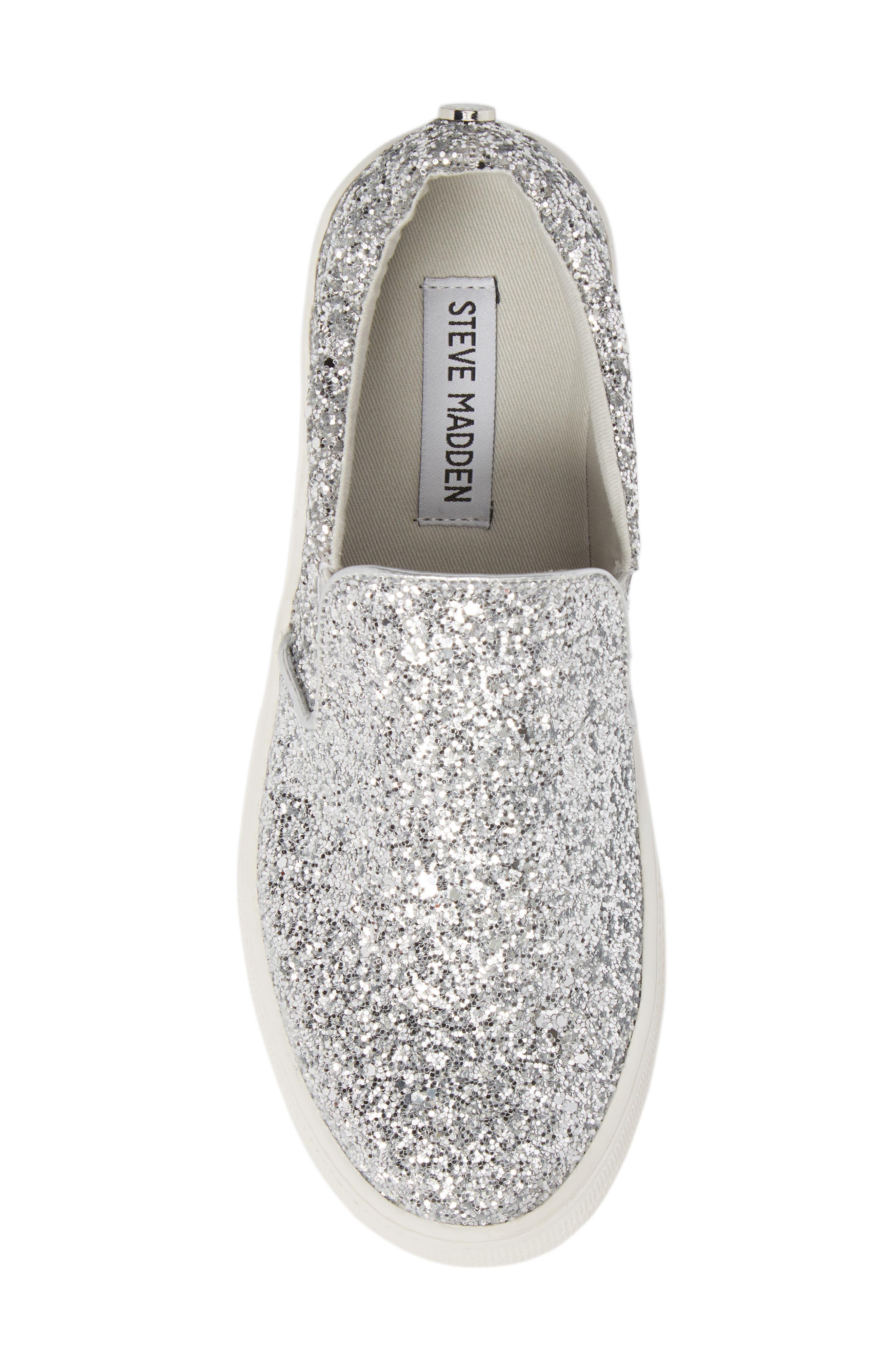 Gills Platform Slip-On Sneaker,                             Alternate thumbnail 5, color,                             Silver Glitter
