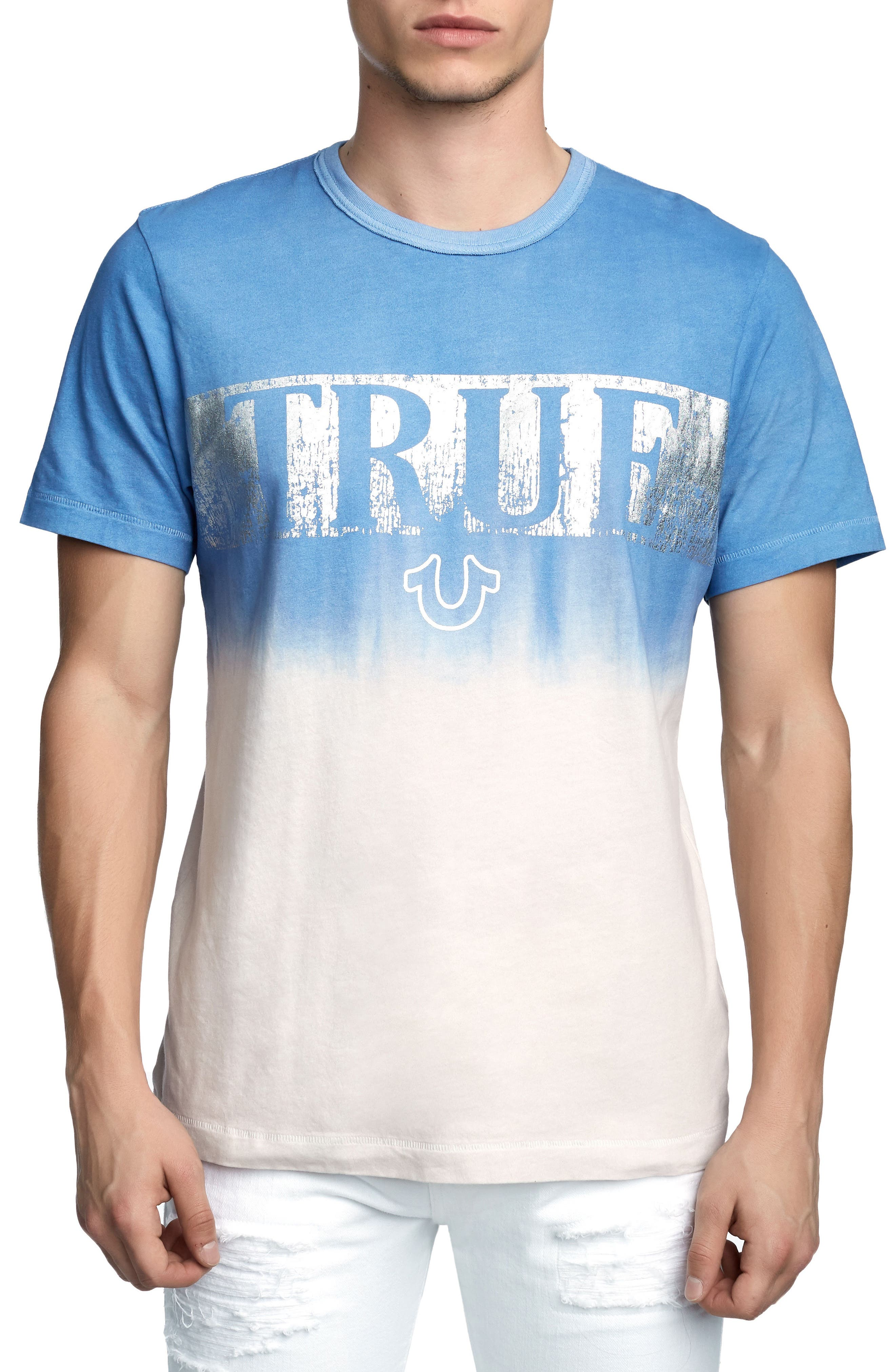 Metallic Dip Dye T-Shirt,                             Main thumbnail 1, color,                             Retro Blue