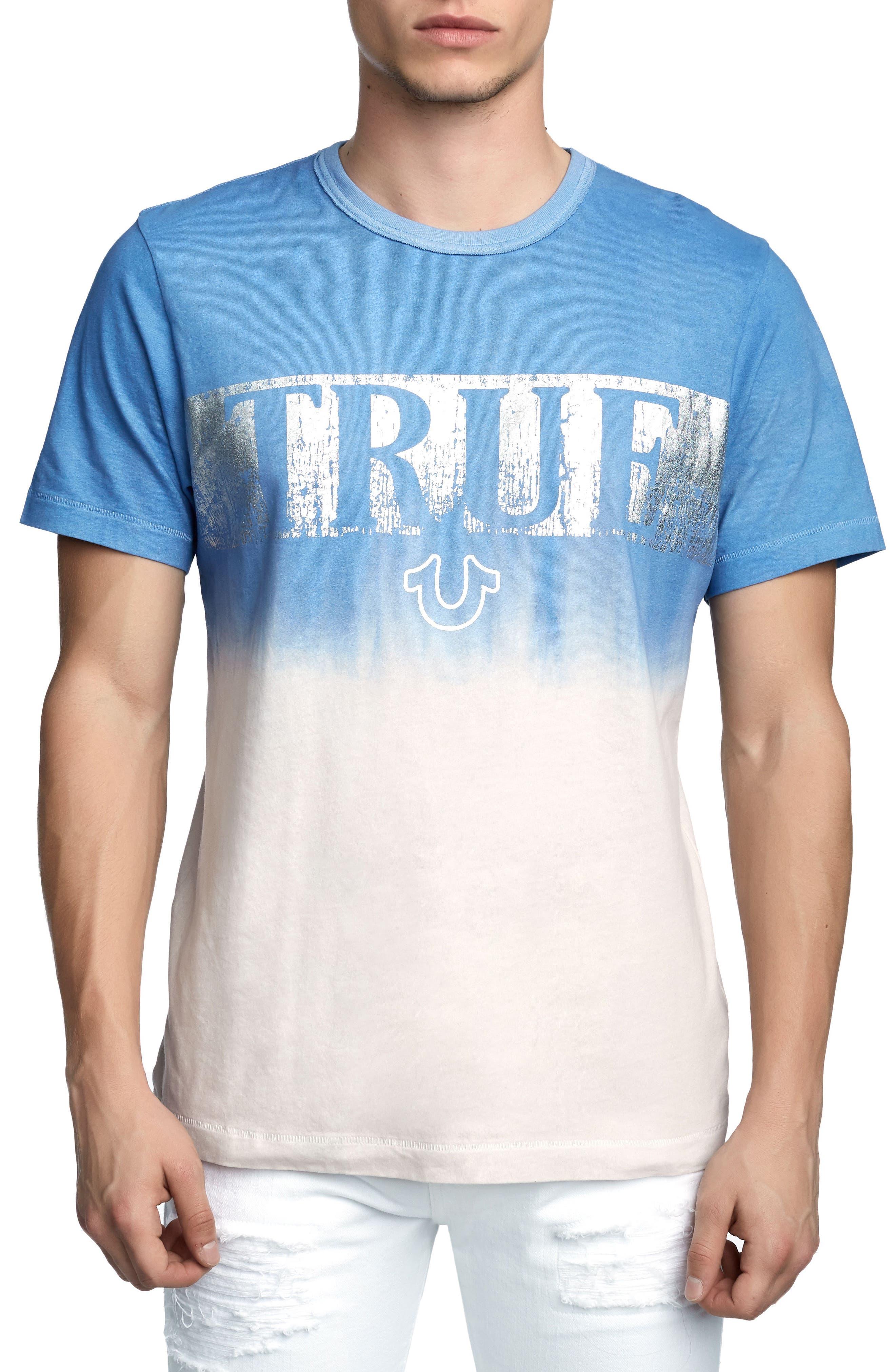 Metallic Dip Dye T-Shirt,                         Main,                         color, Retro Blue
