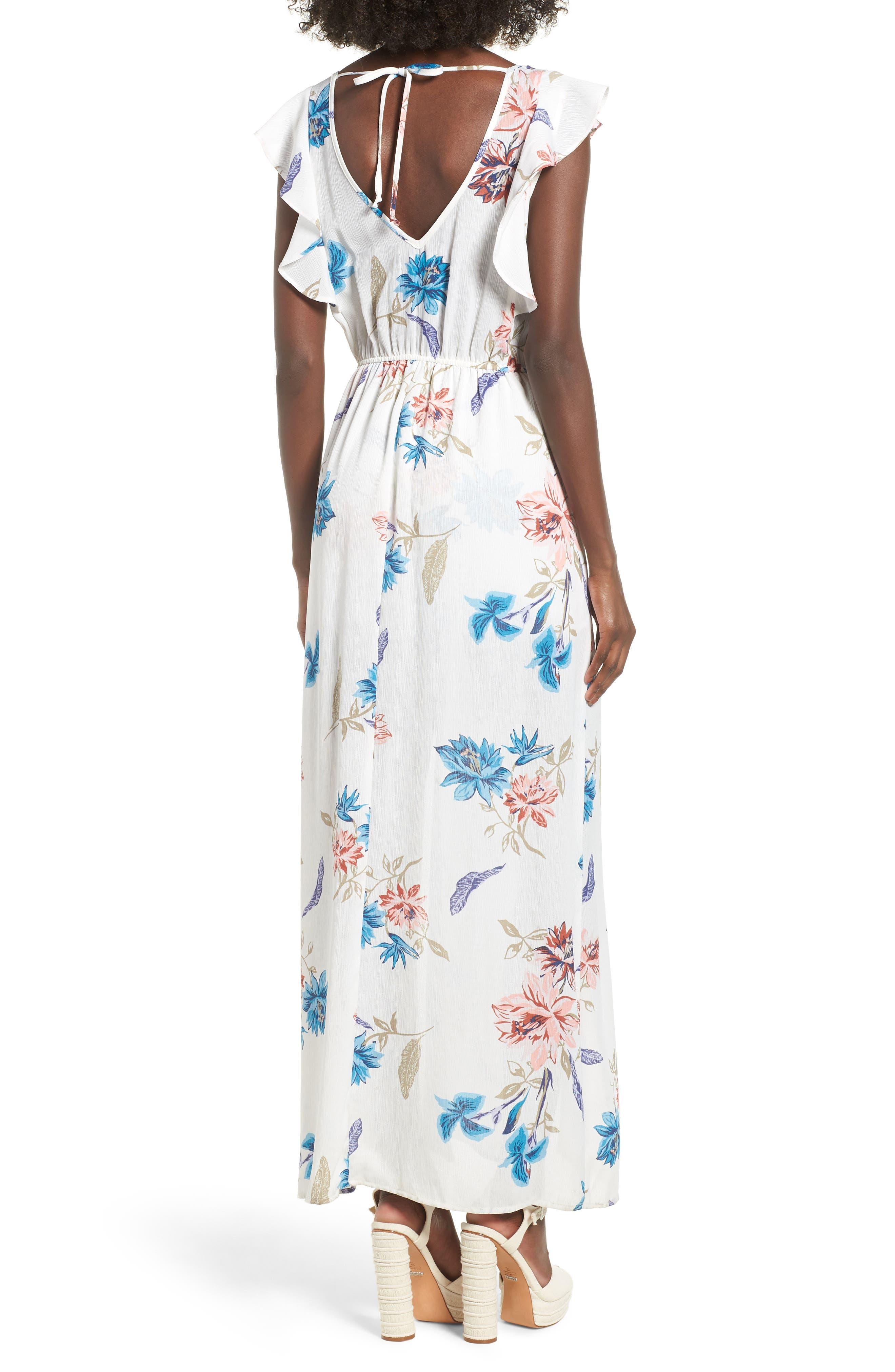 Floral Maxi Dress,                             Alternate thumbnail 2, color,                             White